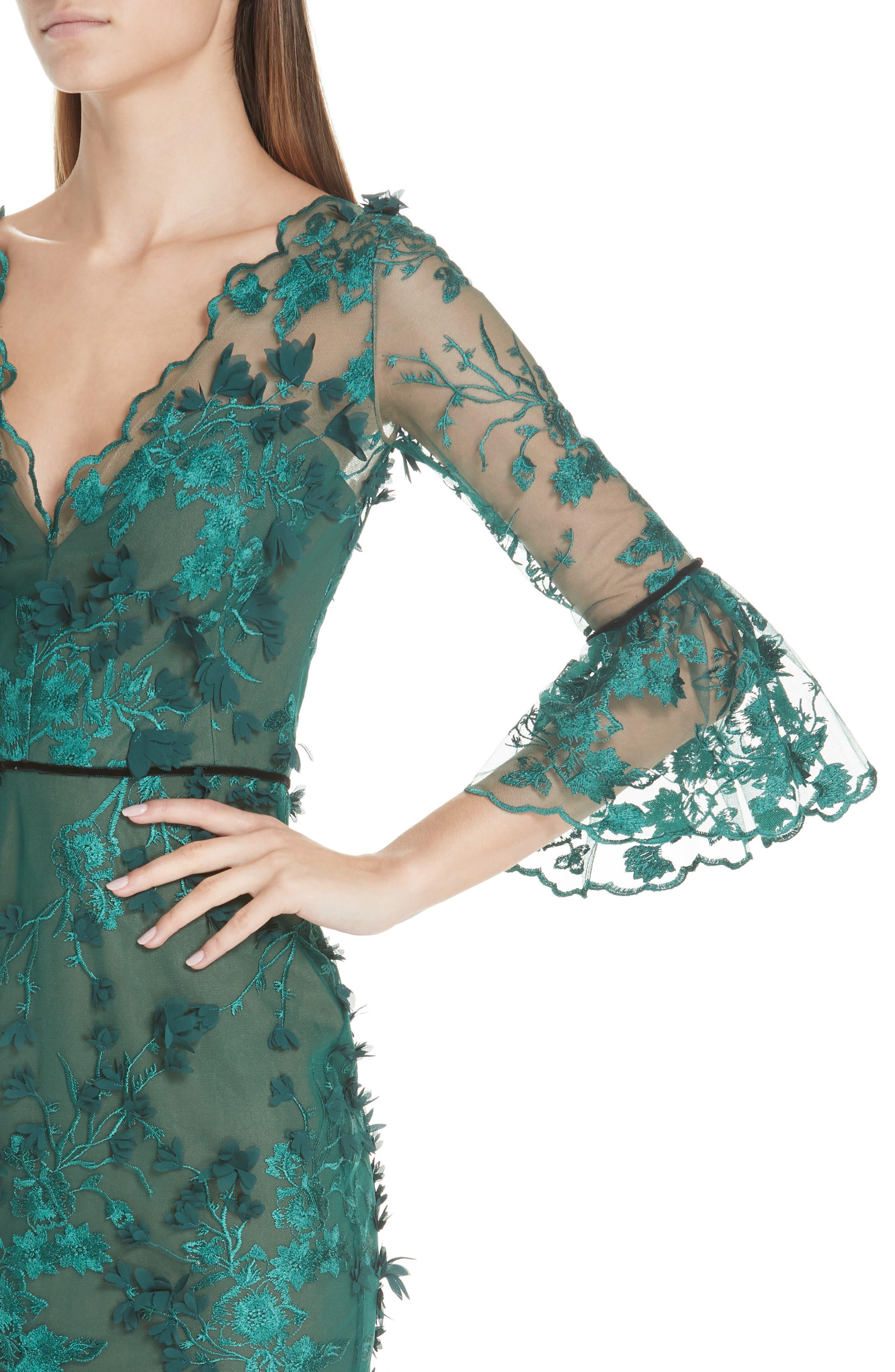 MARCHESA NOTTE,                             Embroidered Ruffle Trim Sheath Dress,                             Alternate thumbnail 4, color,                             300