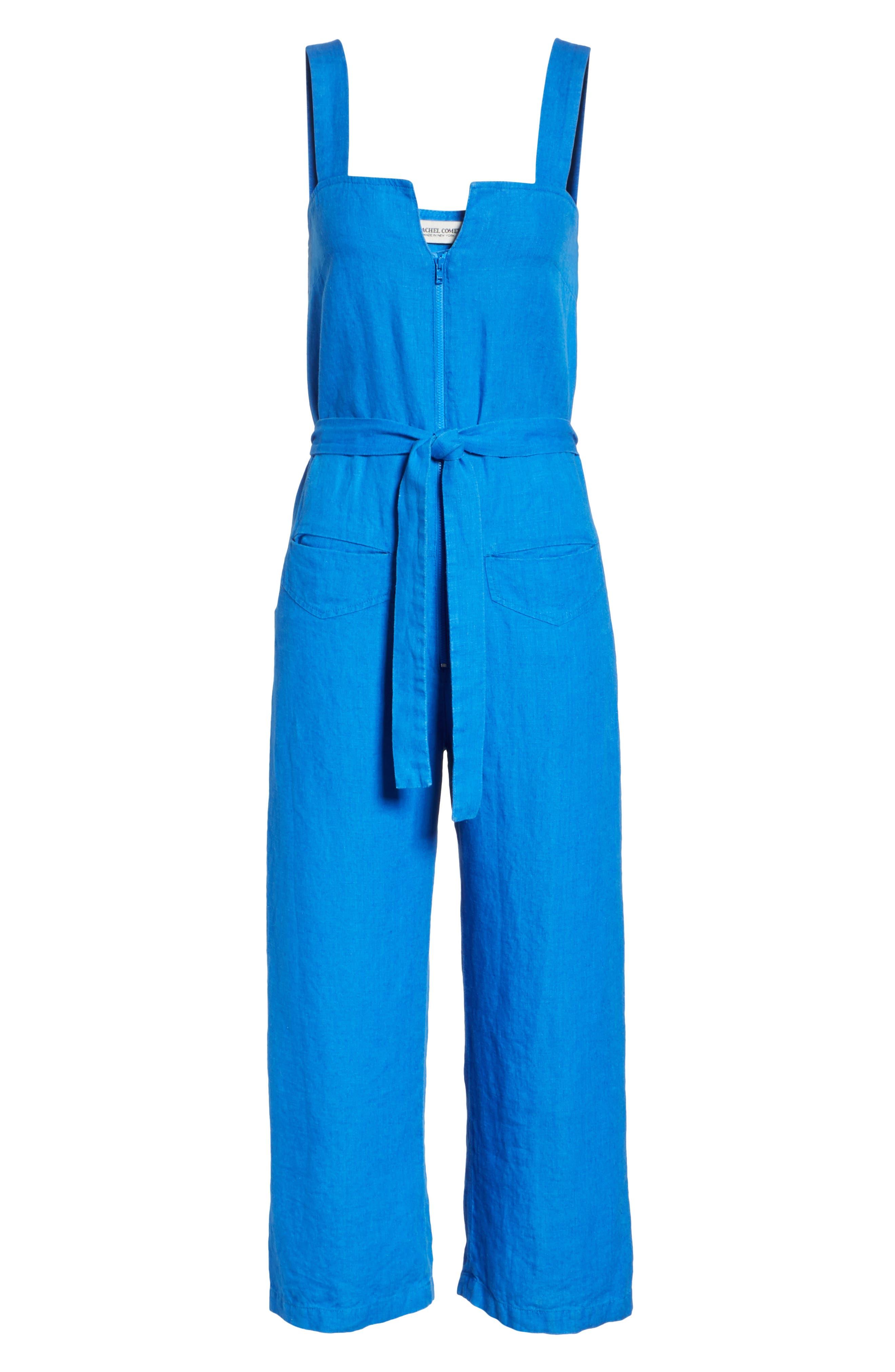 Bend Linen Jumpsuit,                             Alternate thumbnail 6, color,                             LAPIS