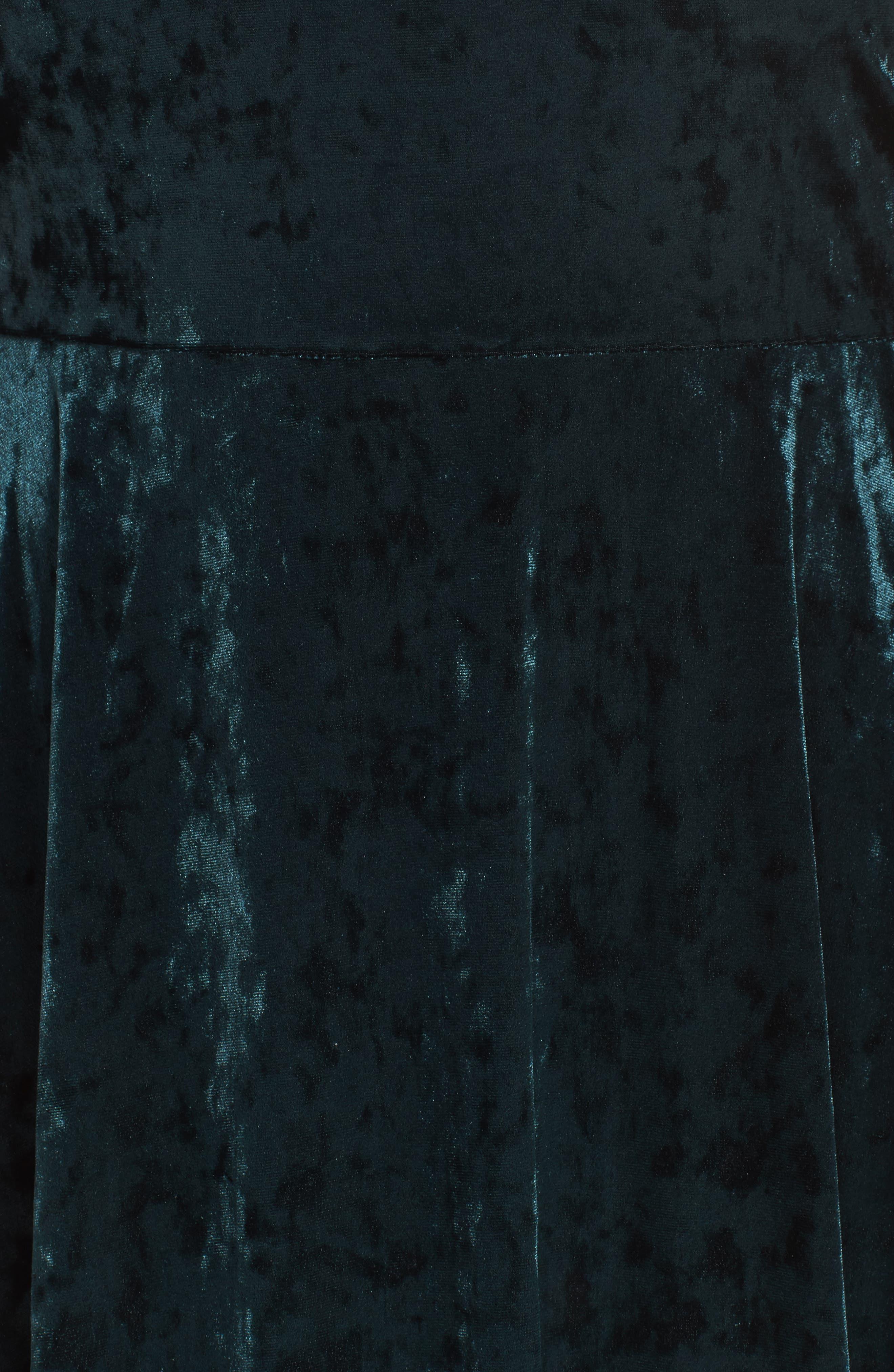 Lace Yoke Velvet Fit & Flare Dress,                             Alternate thumbnail 5, color,                             256