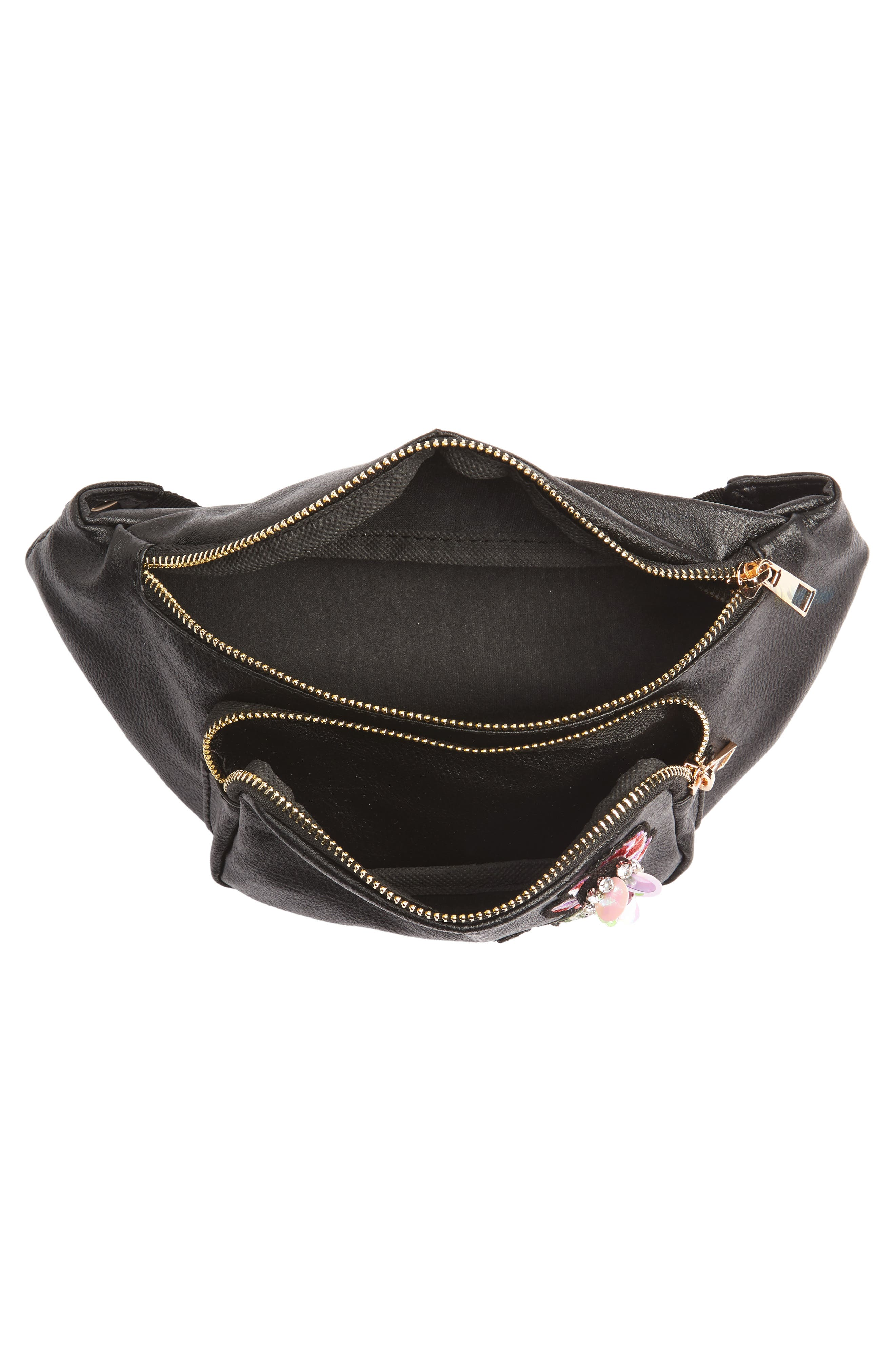 Embroidered Faux Leather Fanny Pack,                             Alternate thumbnail 5, color,