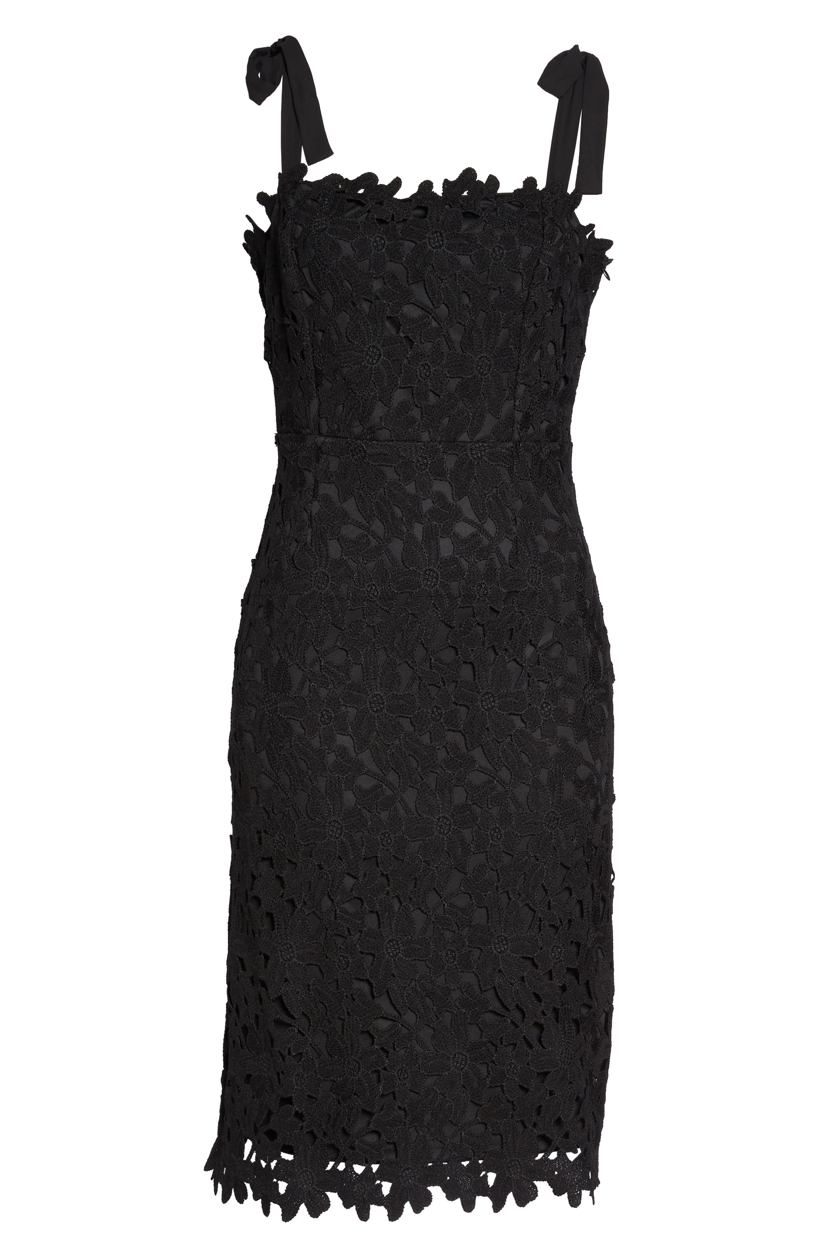Amy Lace Sheath Dress,                             Alternate thumbnail 6, color,                             001