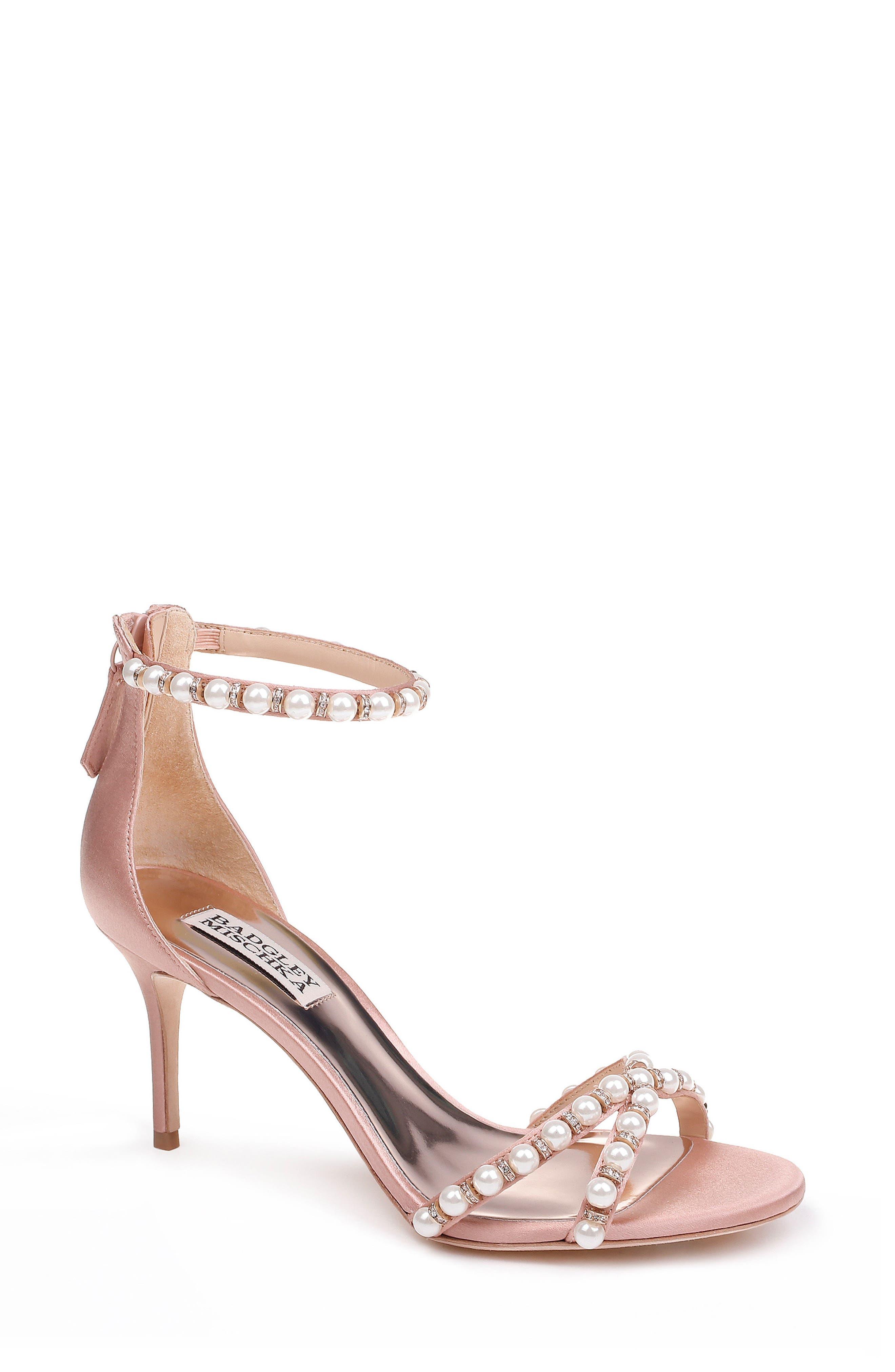 Badgley Mischka Hannah Embellished Ankle Strap Sandal- Pink
