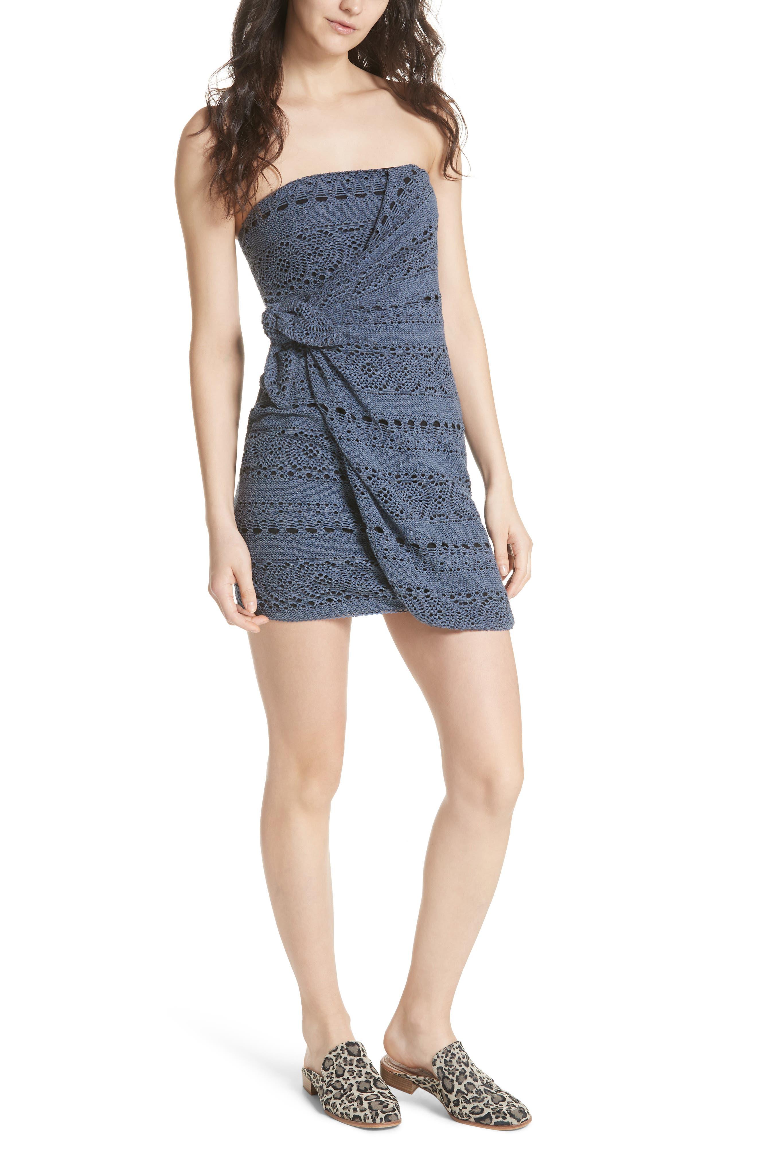 Oceanside Crochet Strapless Minidress,                             Main thumbnail 1, color,