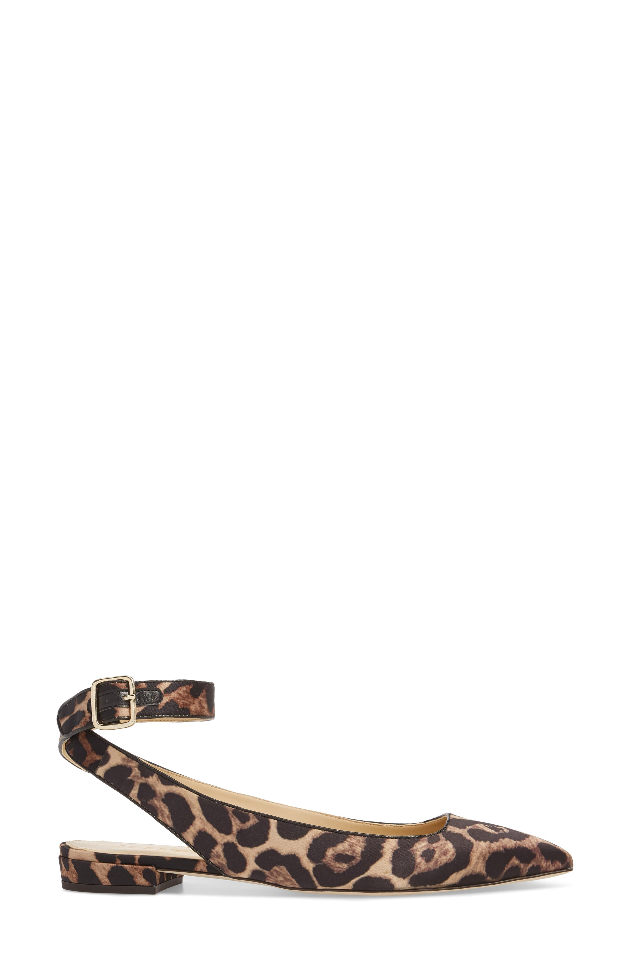 J. Crew Harlech Tabby Print Ankle Strap Flat,                             Alternate thumbnail 3, color,