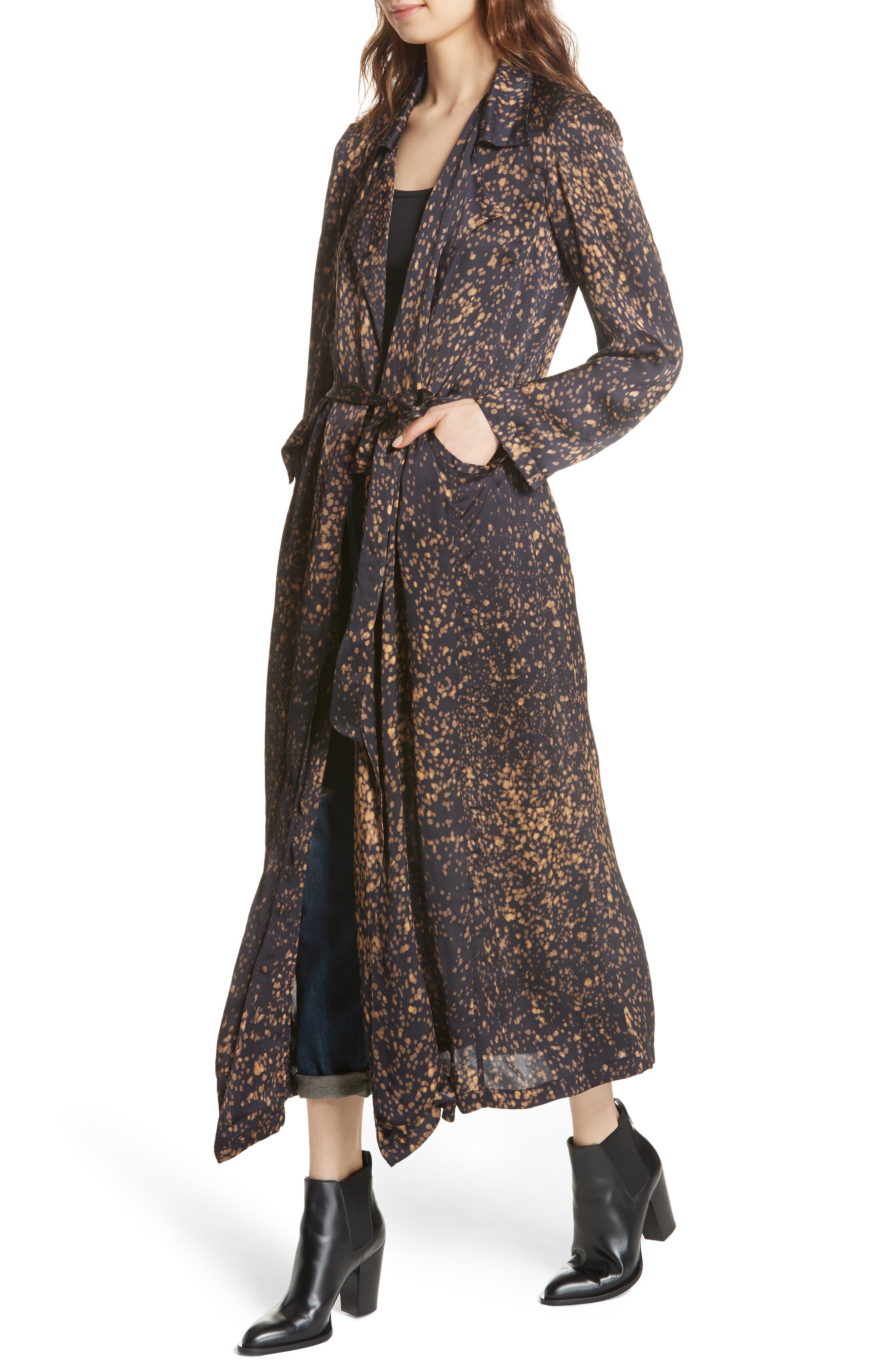 Gabriel Trench Coat,                             Alternate thumbnail 4, color,                             BLACK DOT