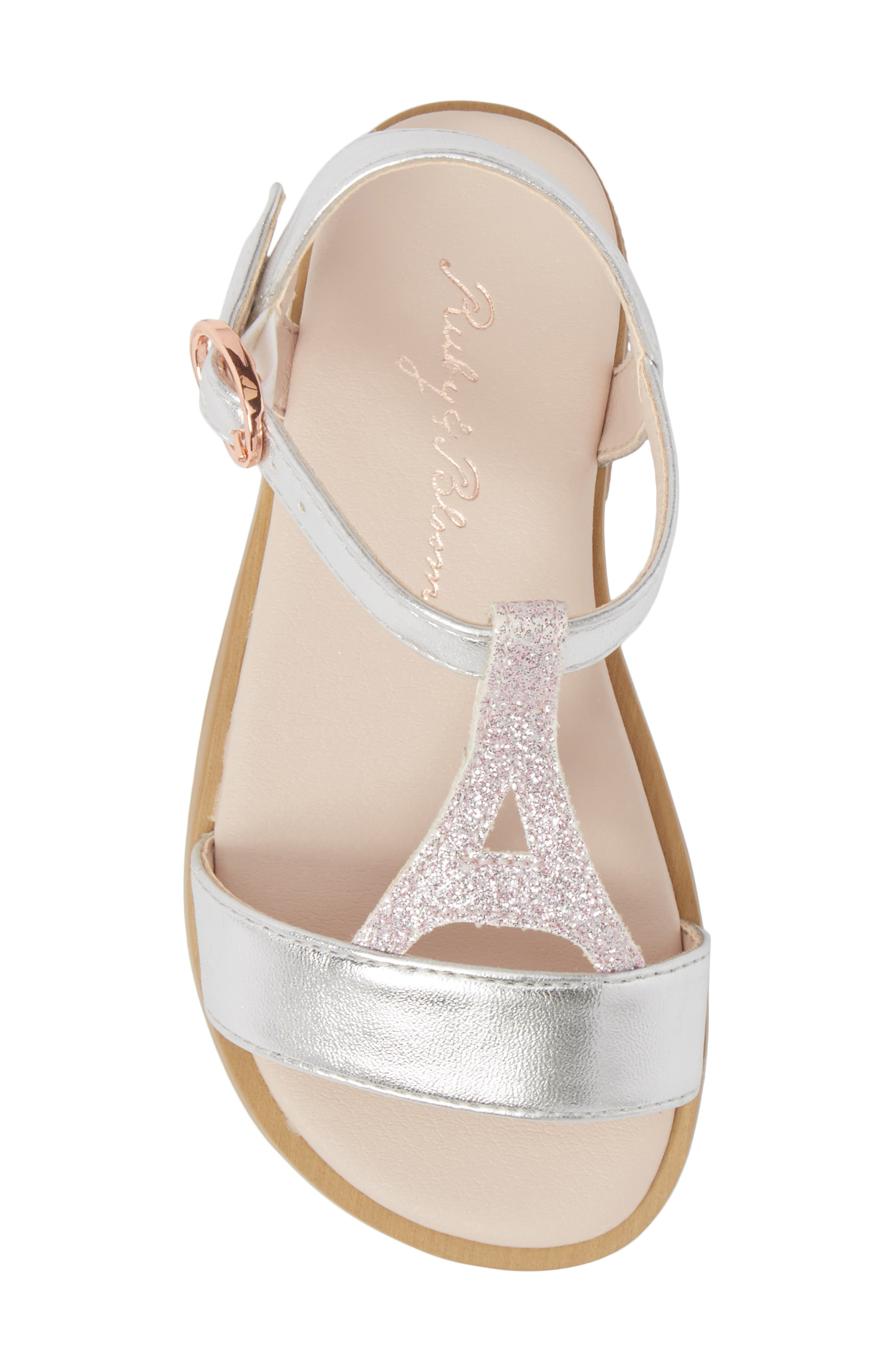 Tegan Glitter T-Strap Sandal,                             Alternate thumbnail 5, color,                             040