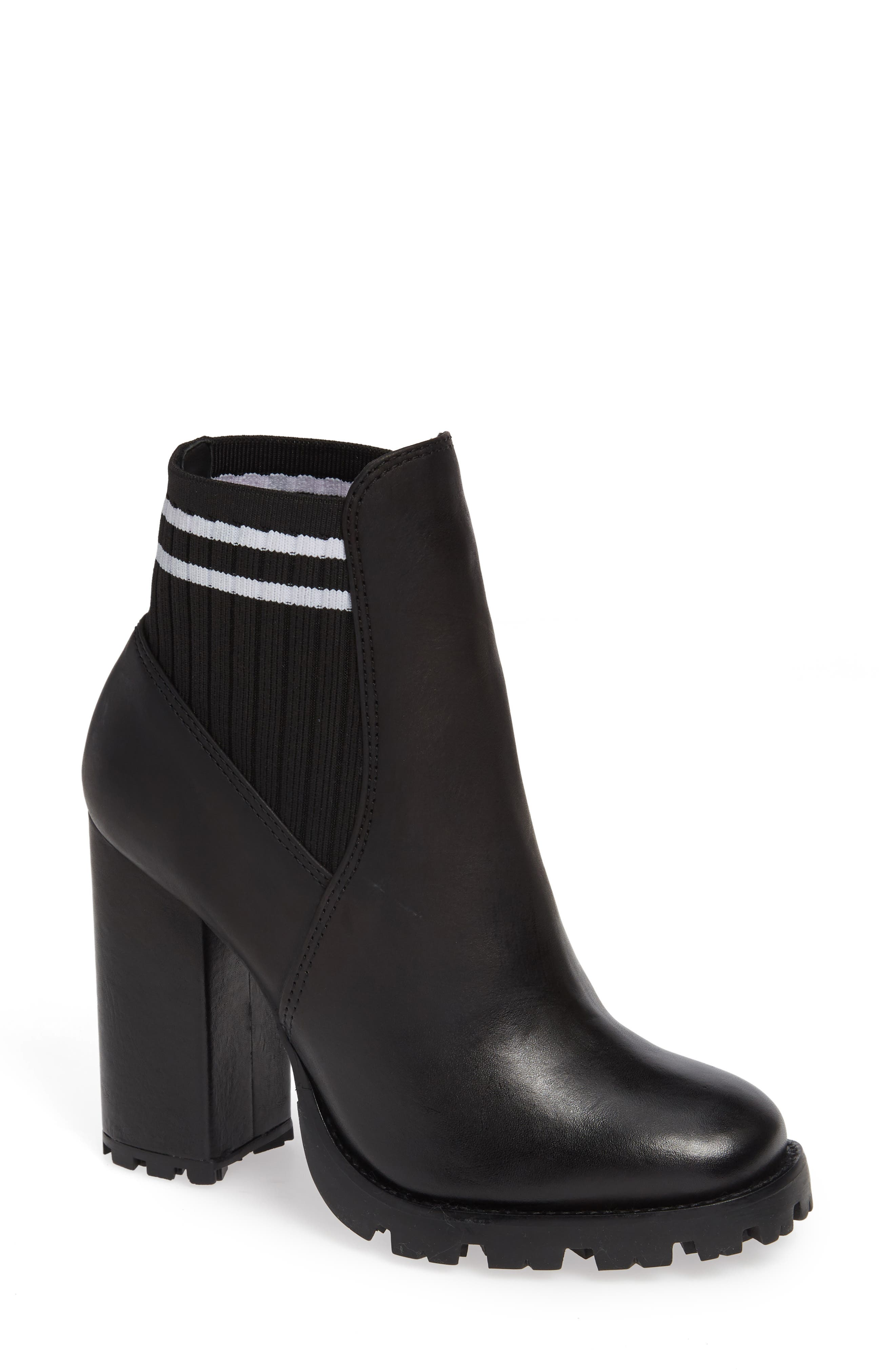Ilenne Platform Sock Bootie,                             Main thumbnail 1, color,                             BLACK/ WHITE