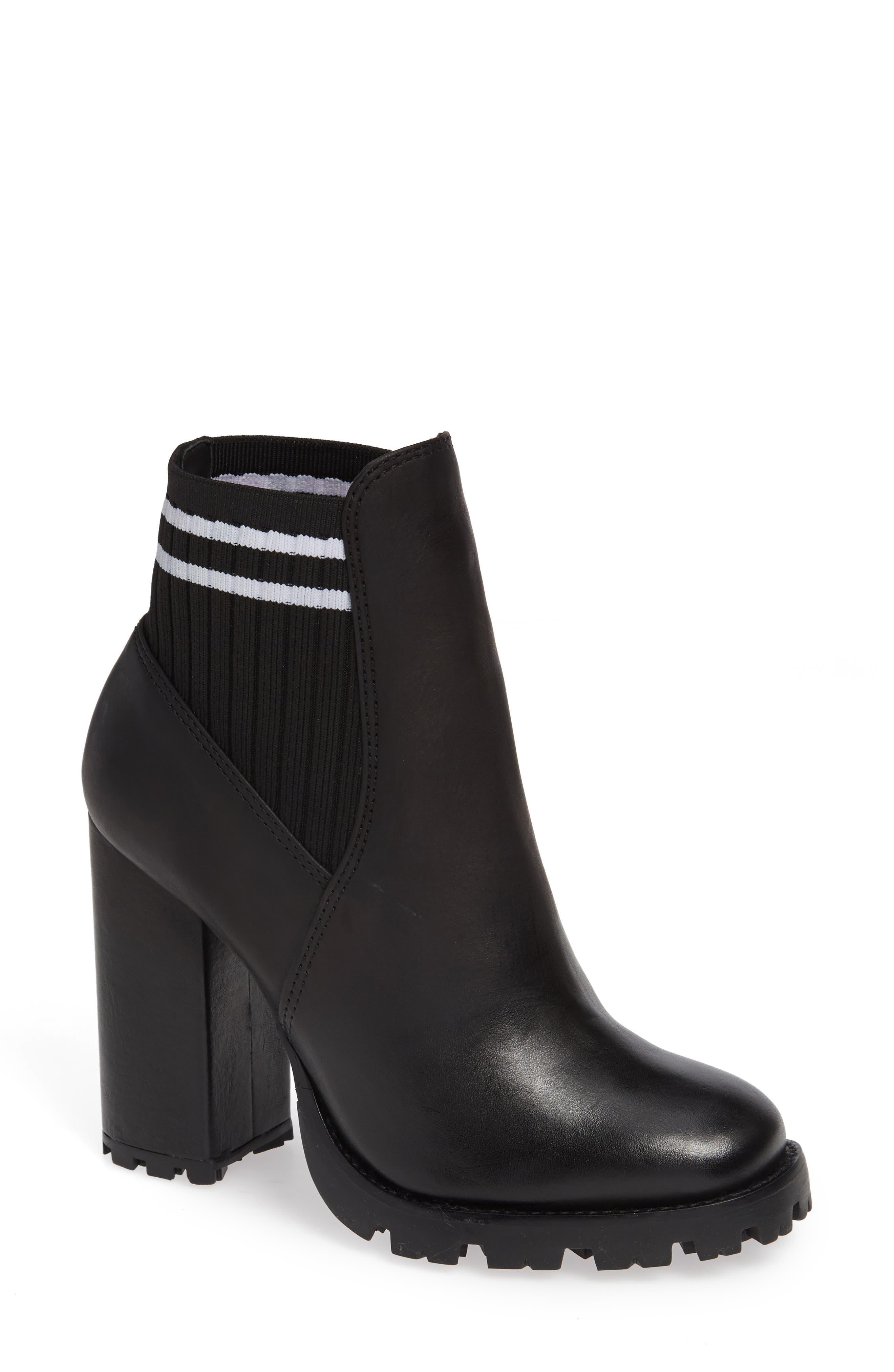 Ilenne Platform Sock Bootie,                         Main,                         color, BLACK/ WHITE