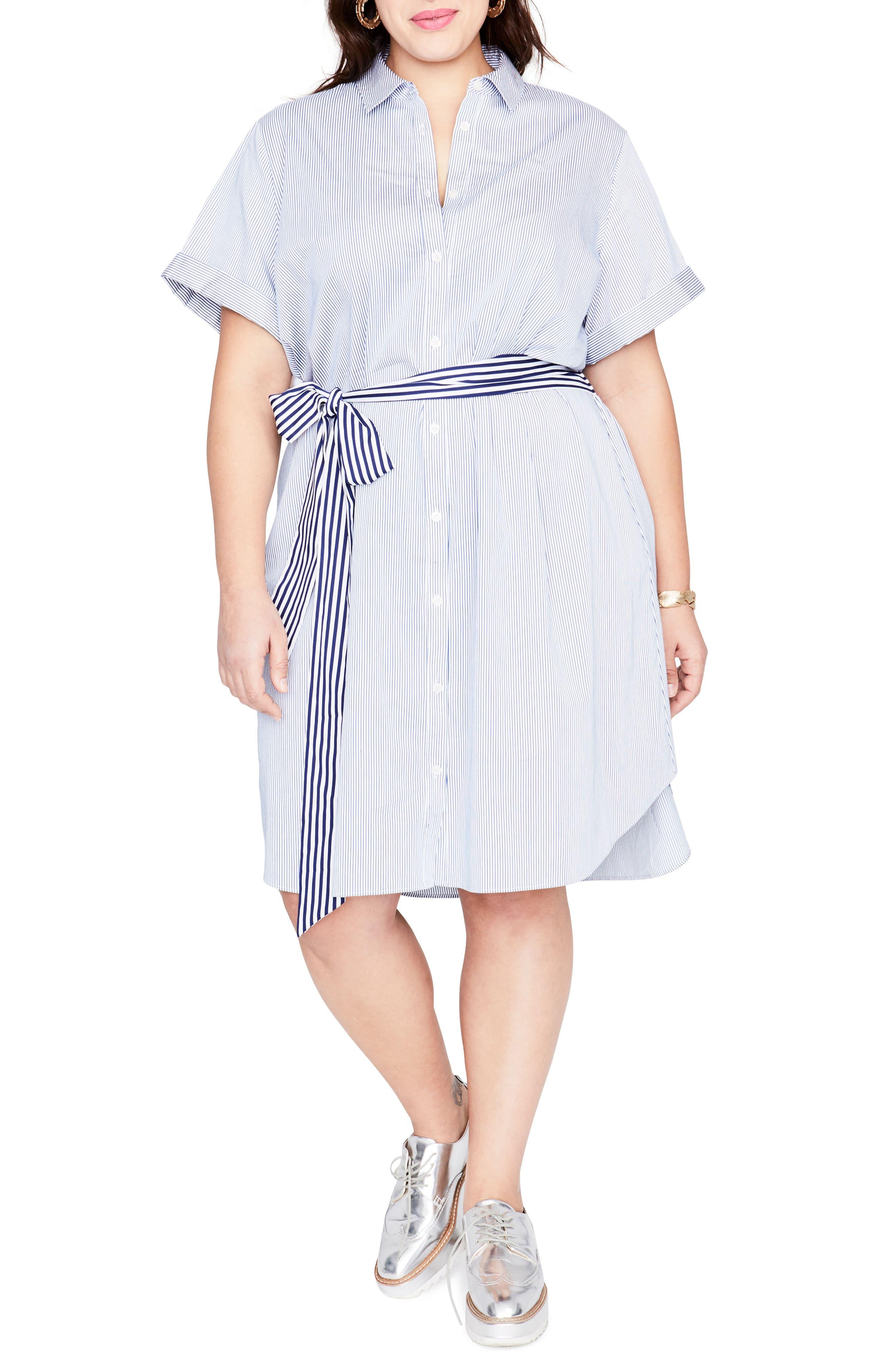 Obi Belt Stripe Shirtdress,                         Main,                         color, BLUE WHITE COMBO