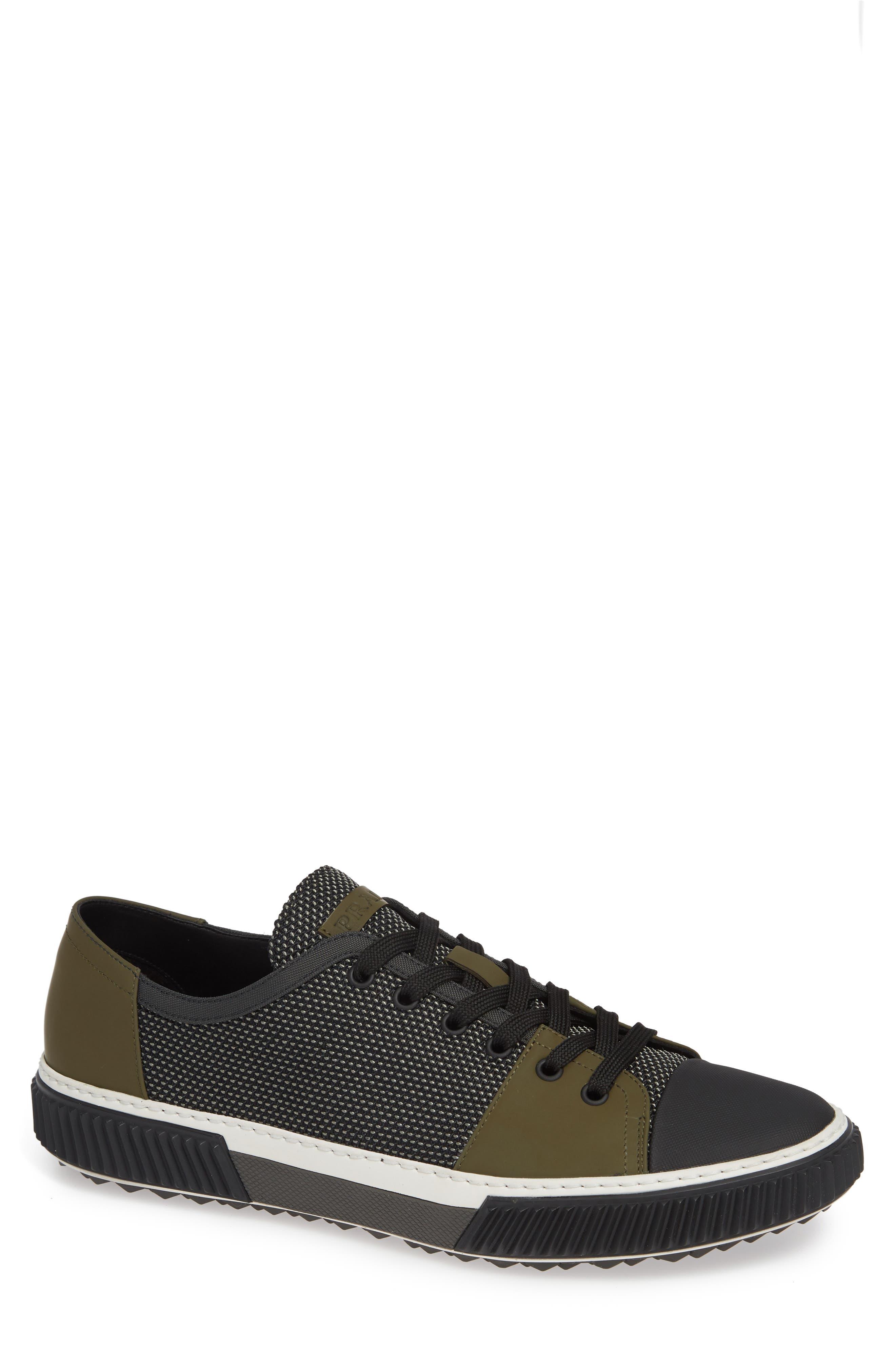 PRADA,                             Linea Rossa Sneaker,                             Main thumbnail 1, color,                             GREY/ BLACK
