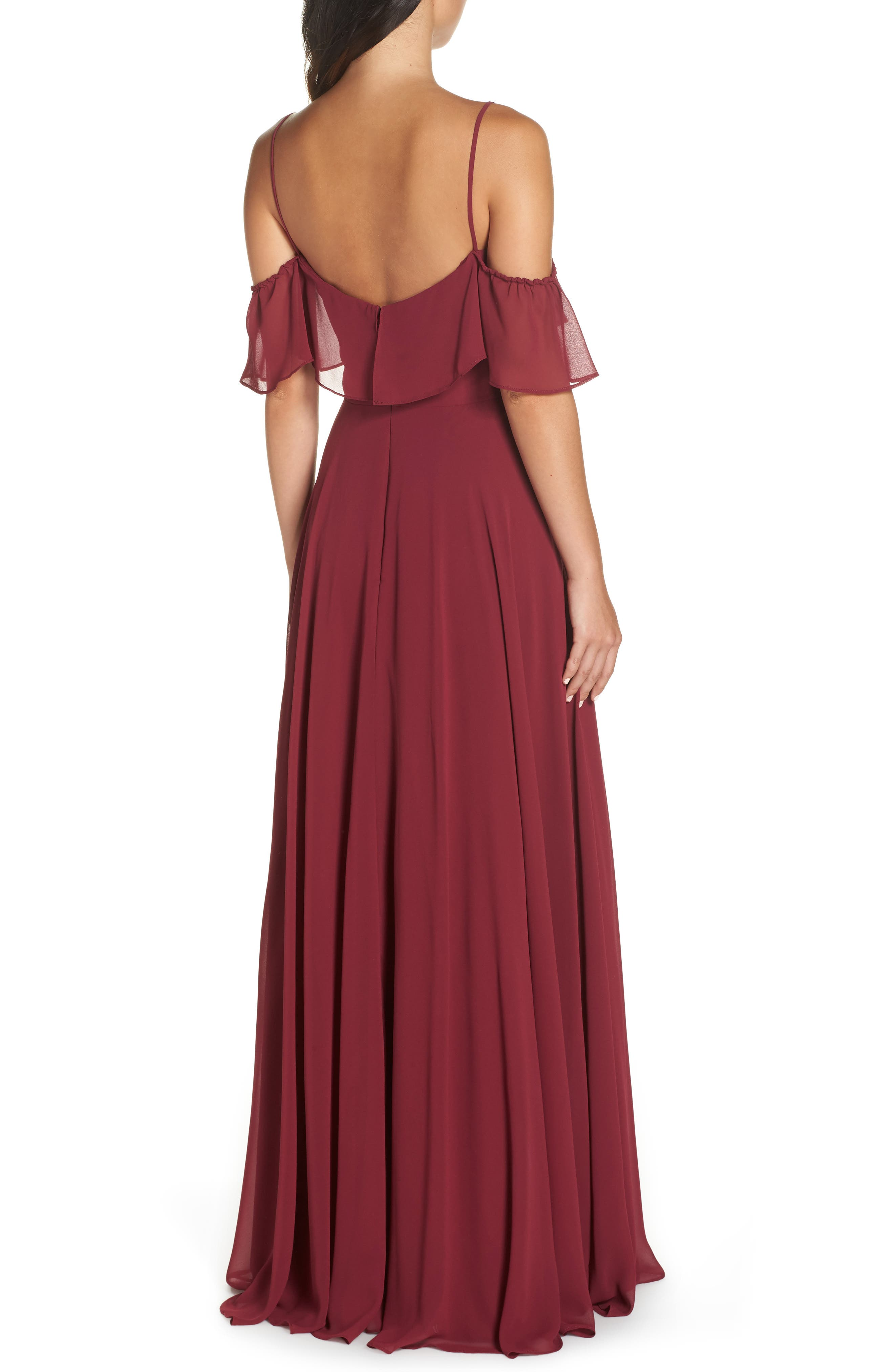 Chiffon Cold Shoulder Gown,                             Alternate thumbnail 2, color,                             BURGUNDY
