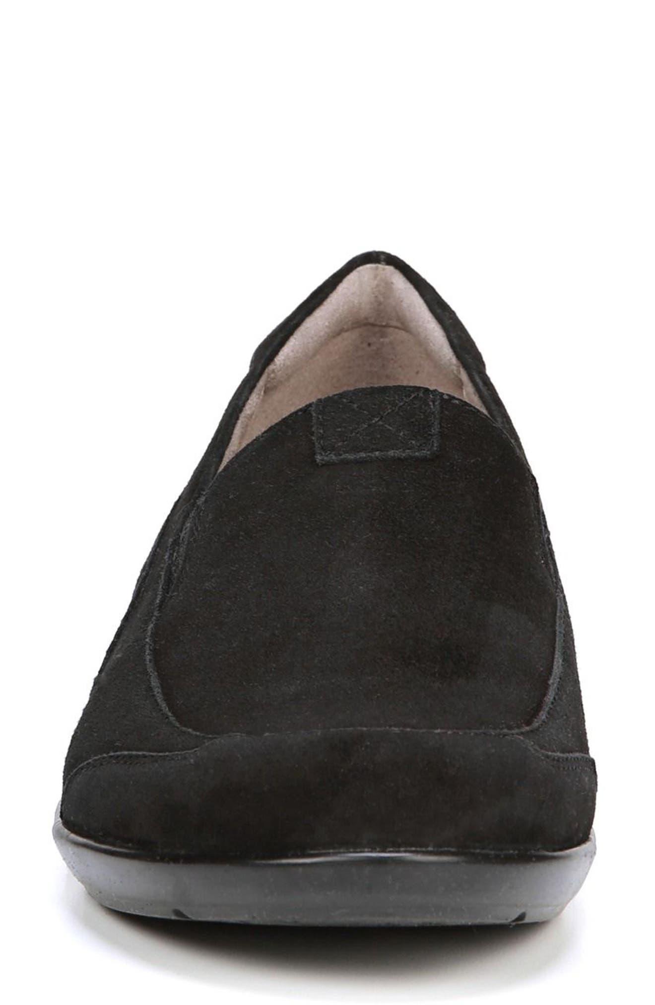 'Channing' Loafer,                             Alternate thumbnail 4, color,                             BLACK SUEDE