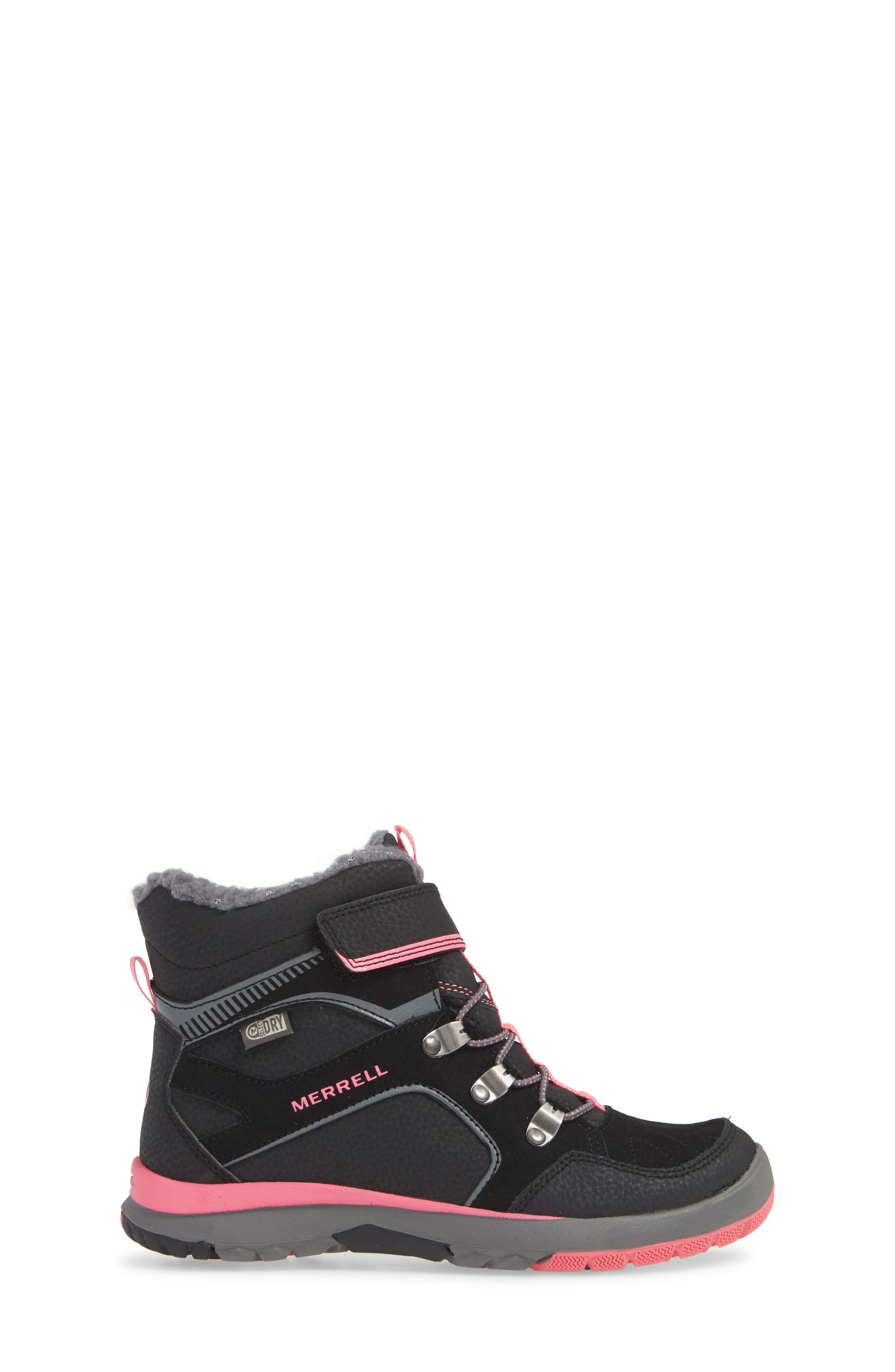 Moab FST Polar Mid Waterproof Insulated Sneaker Boot,                             Alternate thumbnail 3, color,                             BLACK/ PINK