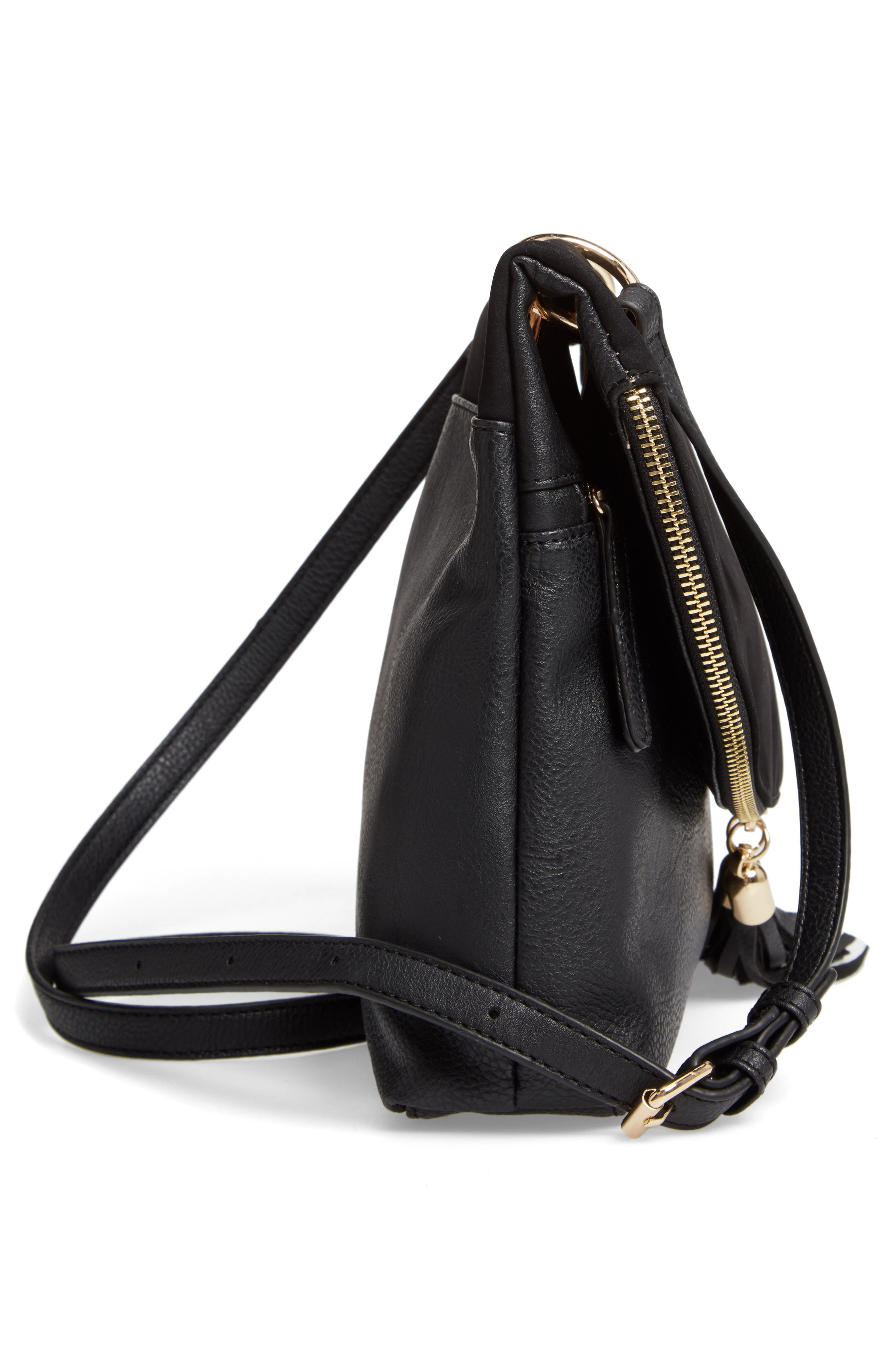 Faux Leather Foldover Tassel Crossbody Bag,                             Alternate thumbnail 5, color,                             BLACK