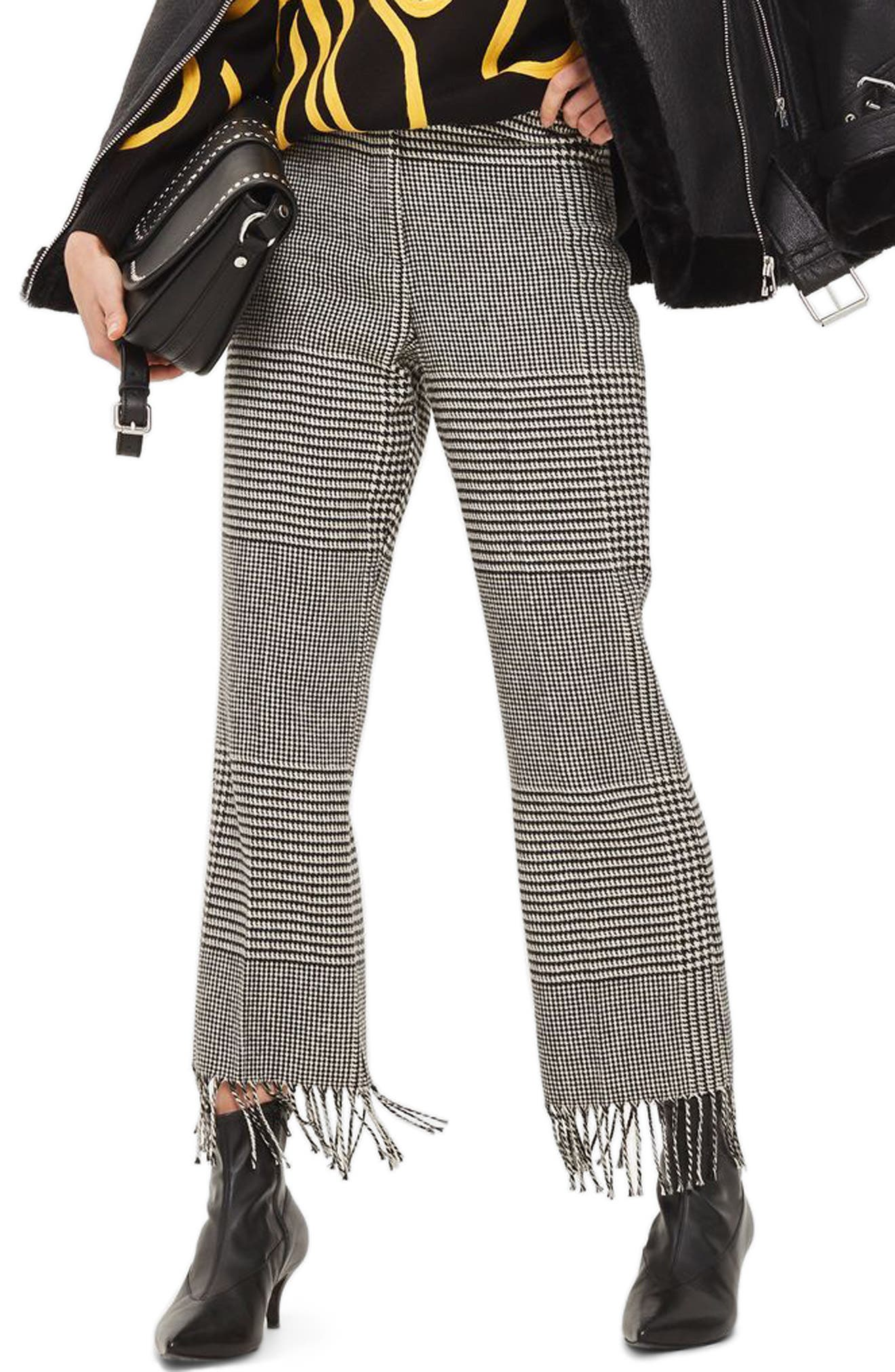 Fringe Hem Check Trousers,                             Main thumbnail 1, color,                             001