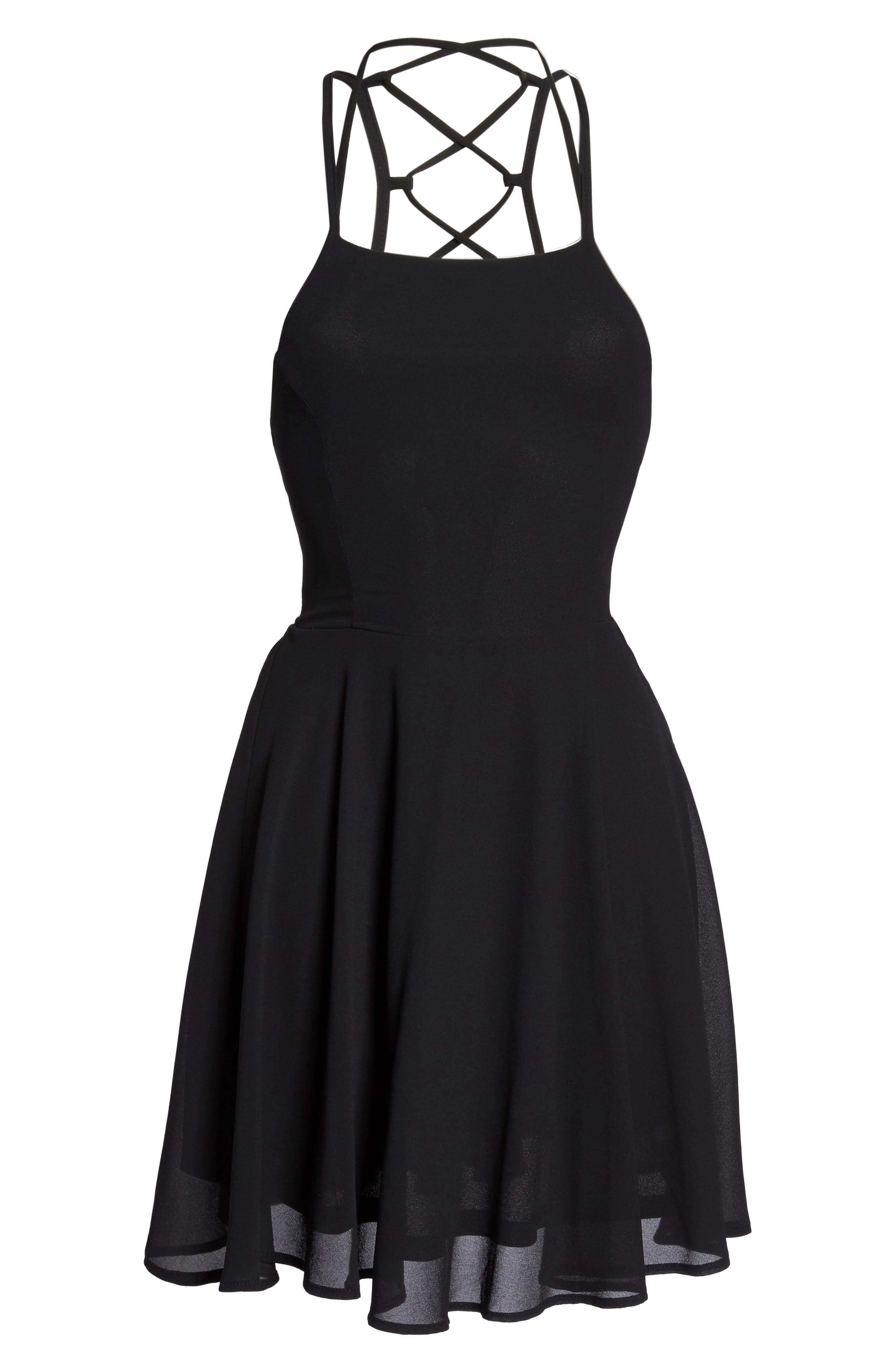 LULUS,                             Good Deeds Lace-Up Skater Dress,                             Alternate thumbnail 7, color,                             BLACK