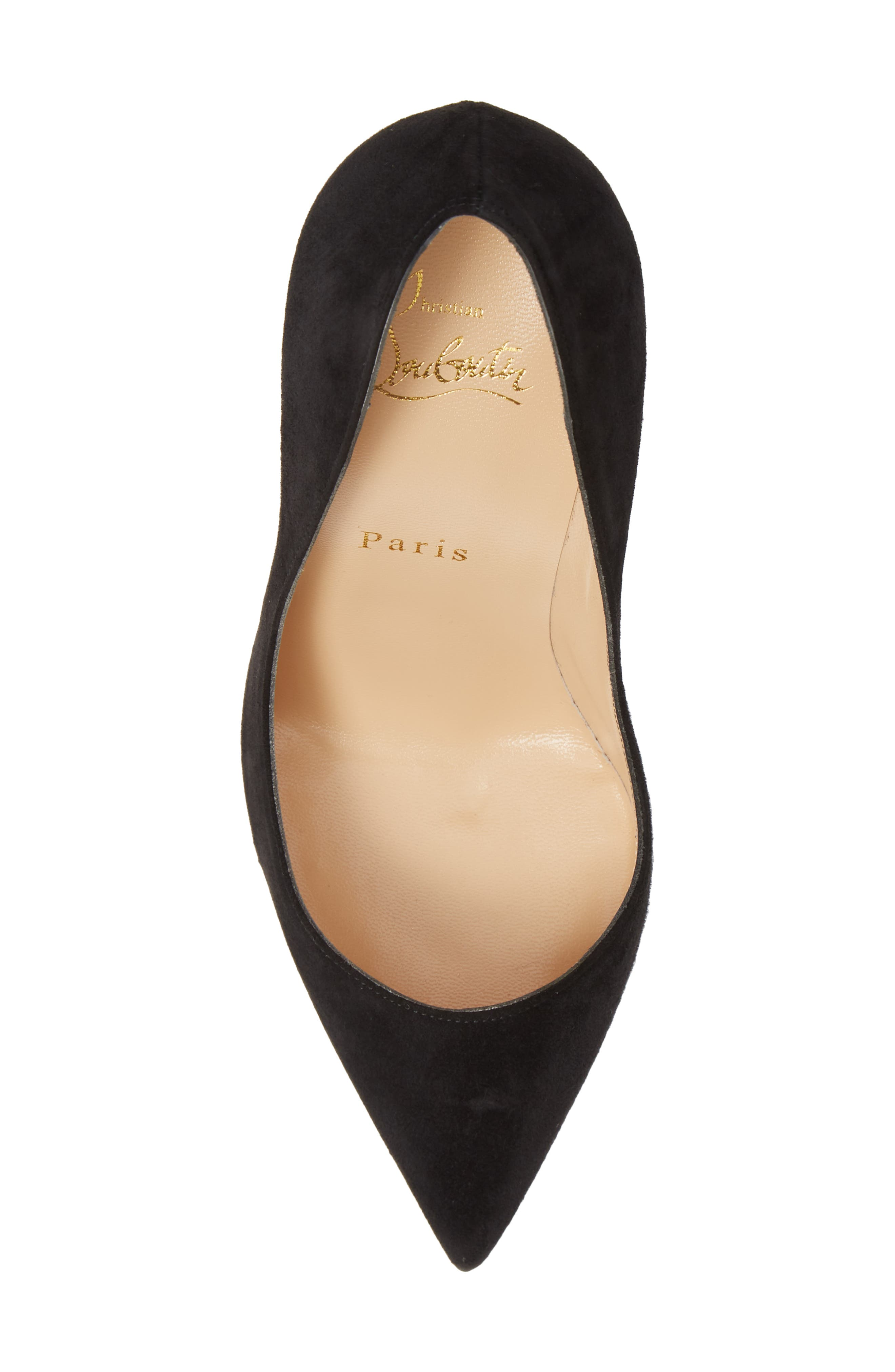Pigalle Follies Pointy Toe Pump,                             Alternate thumbnail 5, color,                             BLACK SUEDE