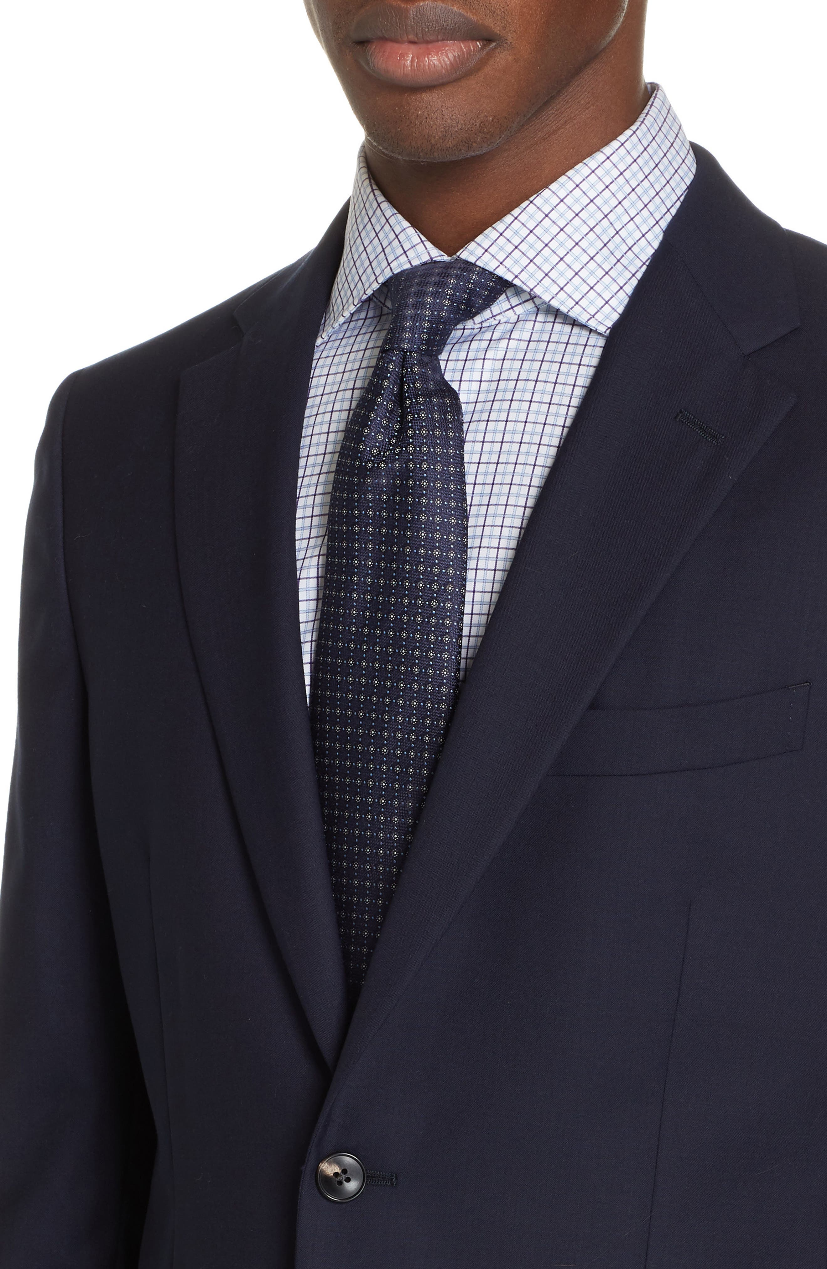 Milano Trim Fit Solid Wool Suit,                             Alternate thumbnail 4, color,                             NAVY