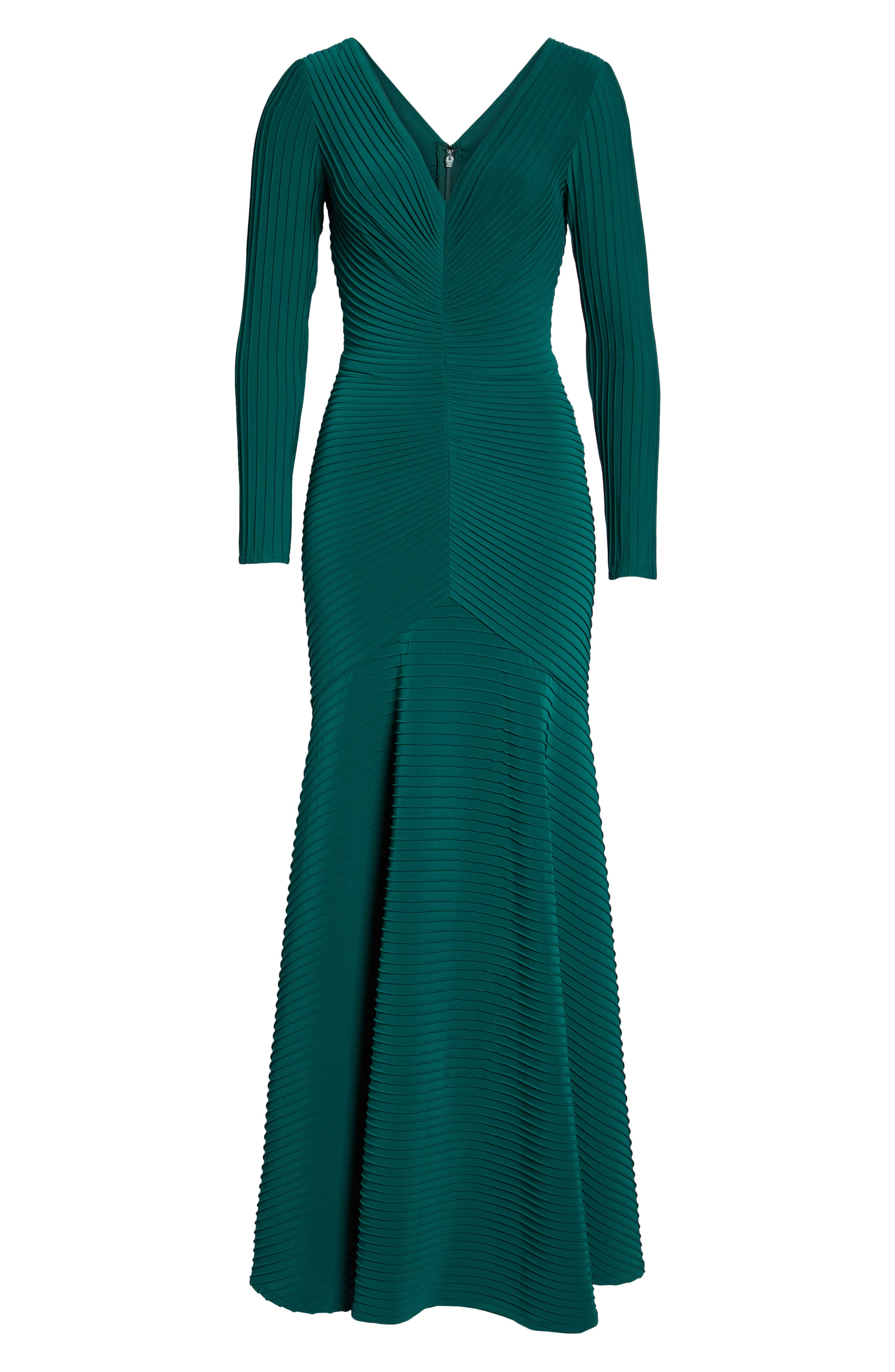 Pintuck Trumpet Gown,                             Alternate thumbnail 7, color,                             FOREST