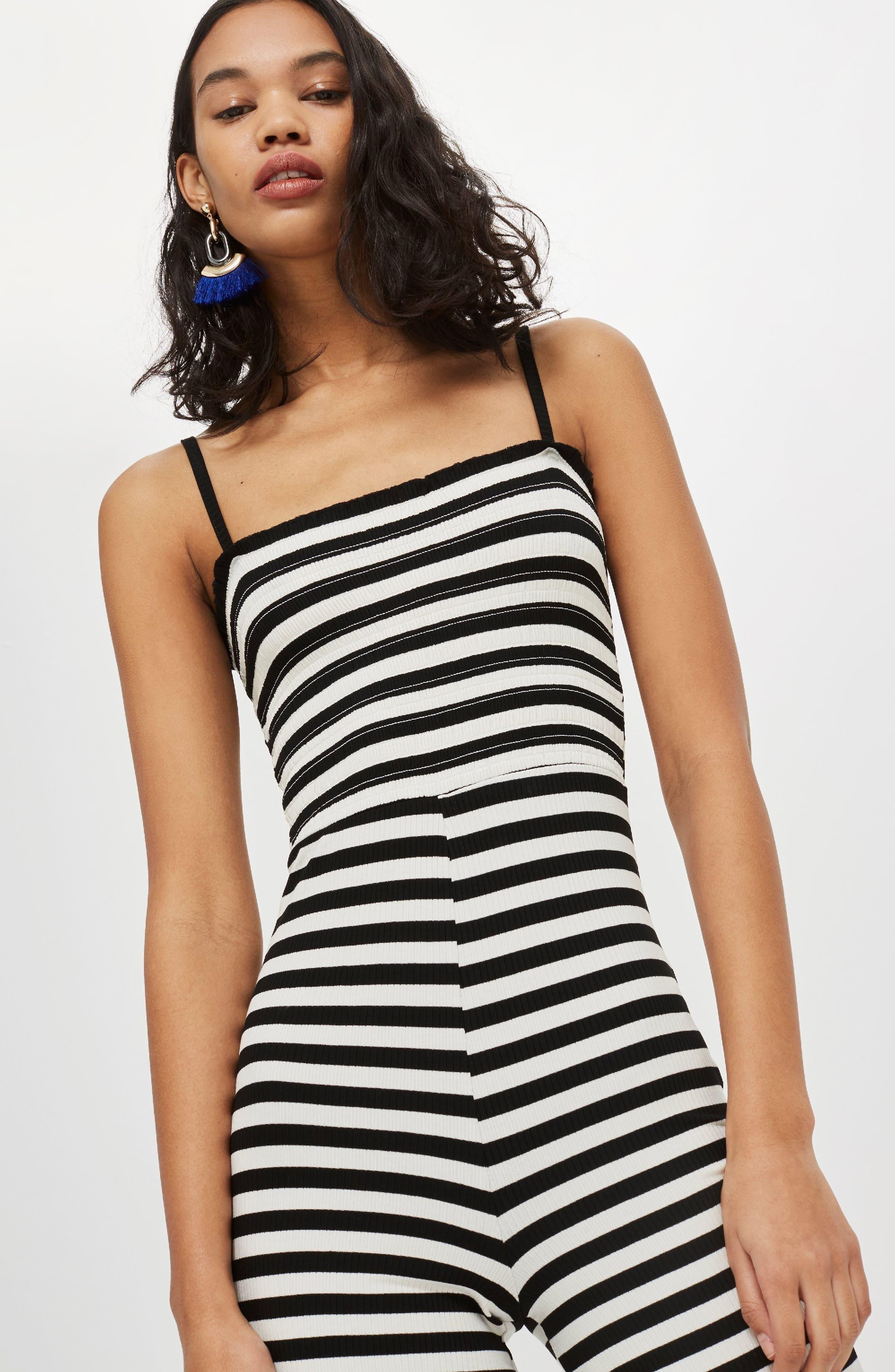 Shirred Top Stripe Jumpsuit,                             Alternate thumbnail 6, color,                             BLACK MULTI