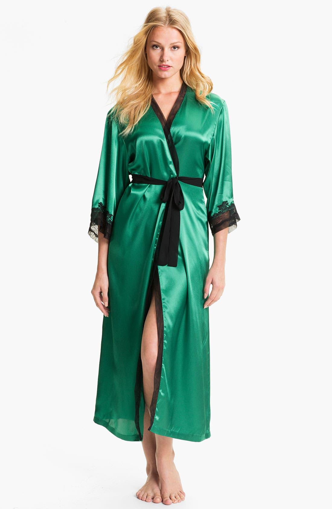 Sleepwear Lace Trim Charmeuse Robe,                             Main thumbnail 1, color,