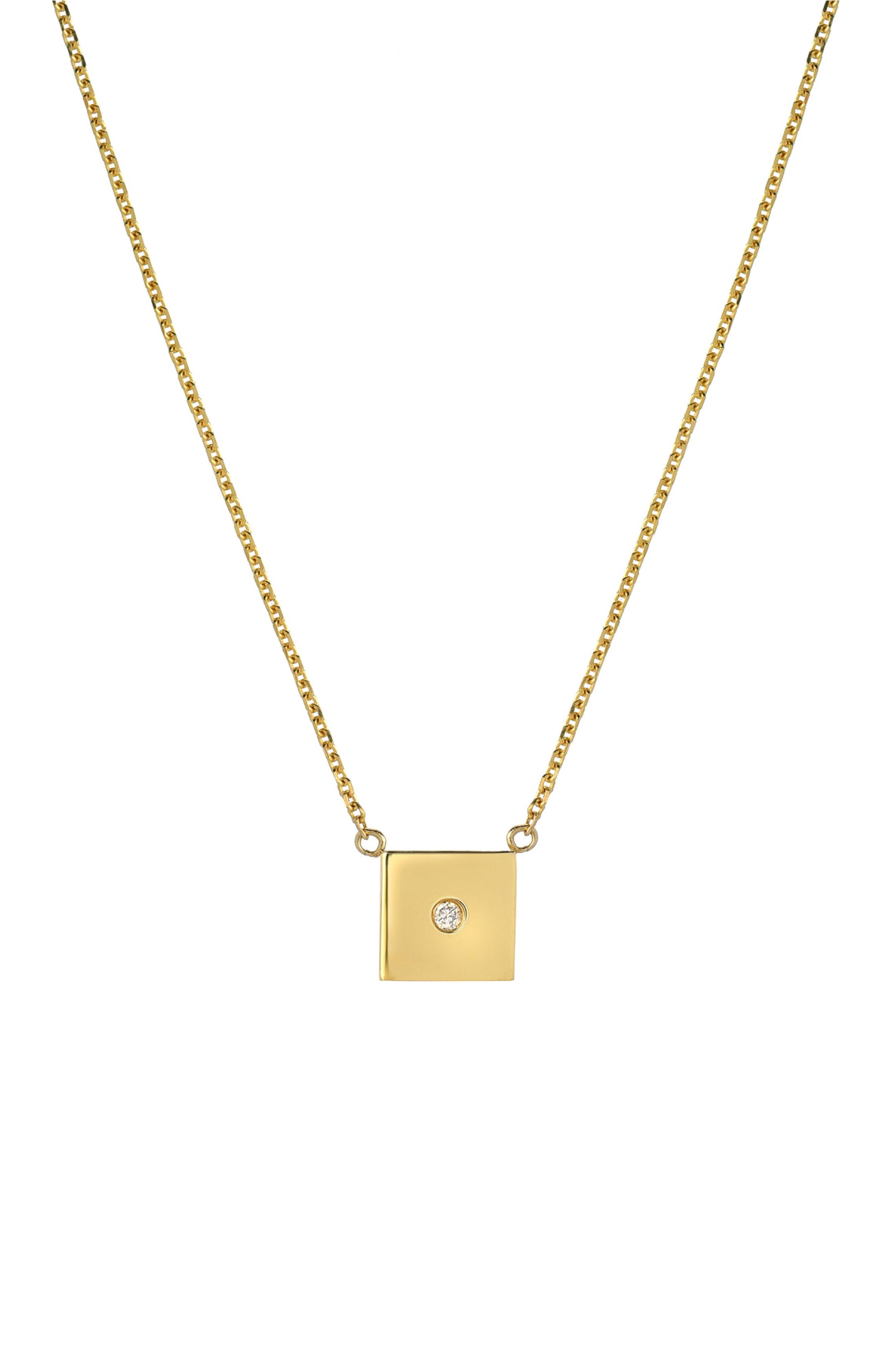 MINI MINI JEWELS,                             Forever Collection - Square Diamond Pendant Necklace,                             Main thumbnail 1, color,                             YELLOW GOLD