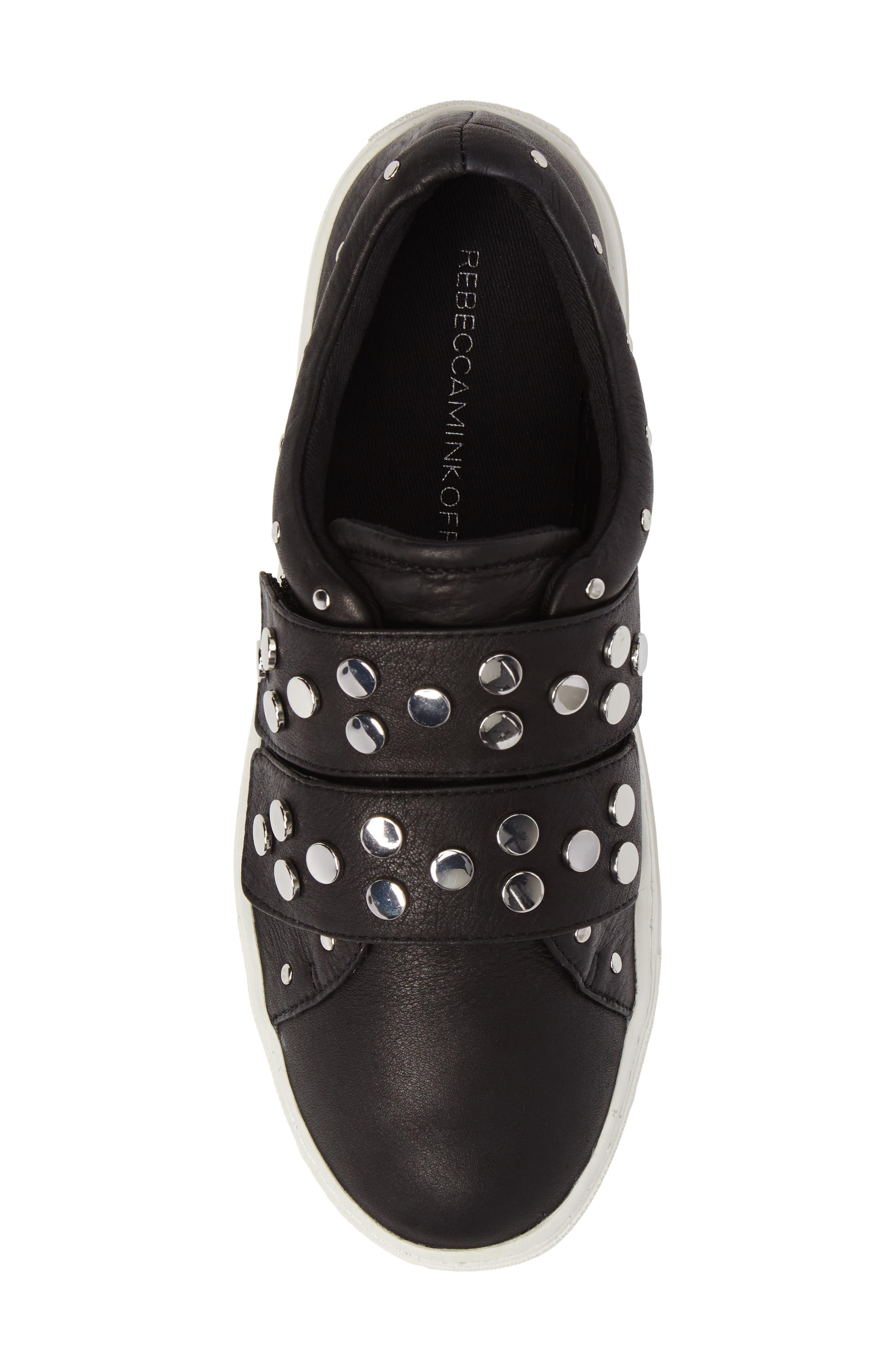 Natasha Studded Platform Sneaker,                             Alternate thumbnail 5, color,                             001