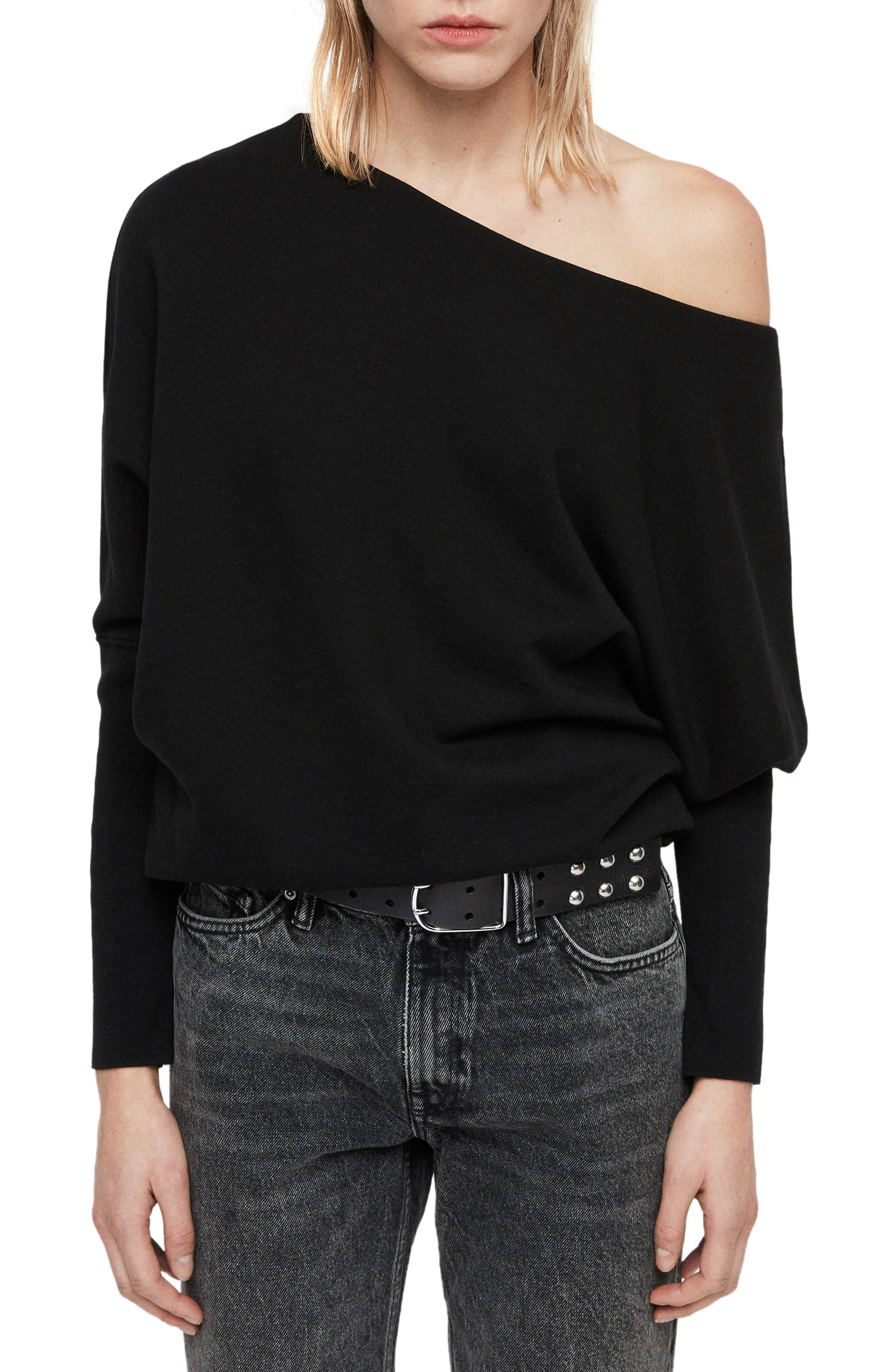 ALLSAINTS Ridley One-Shoulder Sweatshirt in Black