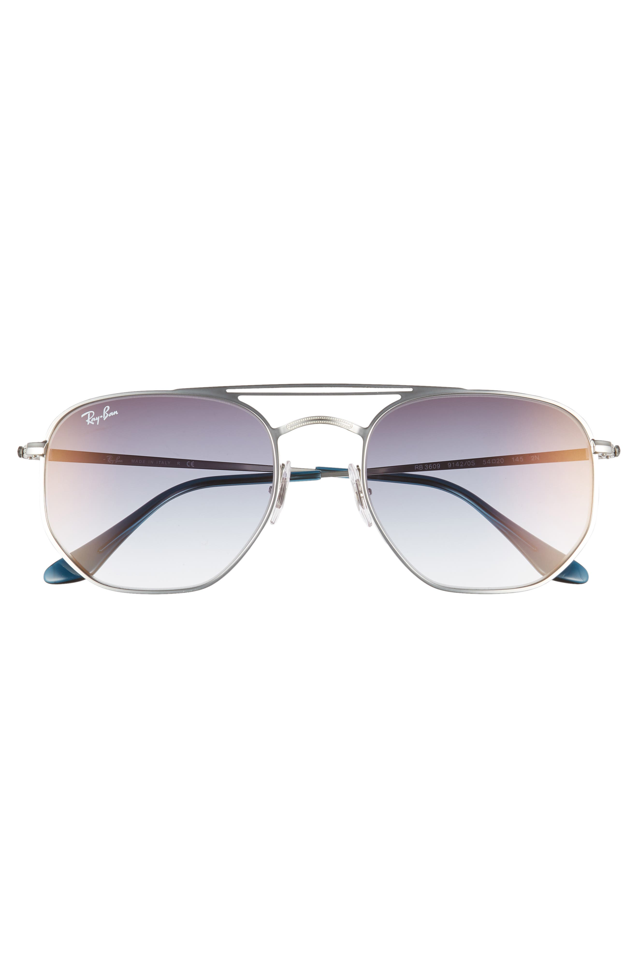 Navigator 54mm Double Bridge Sunglasses,                             Alternate thumbnail 2, color,                             TRANSPARENT BLUE