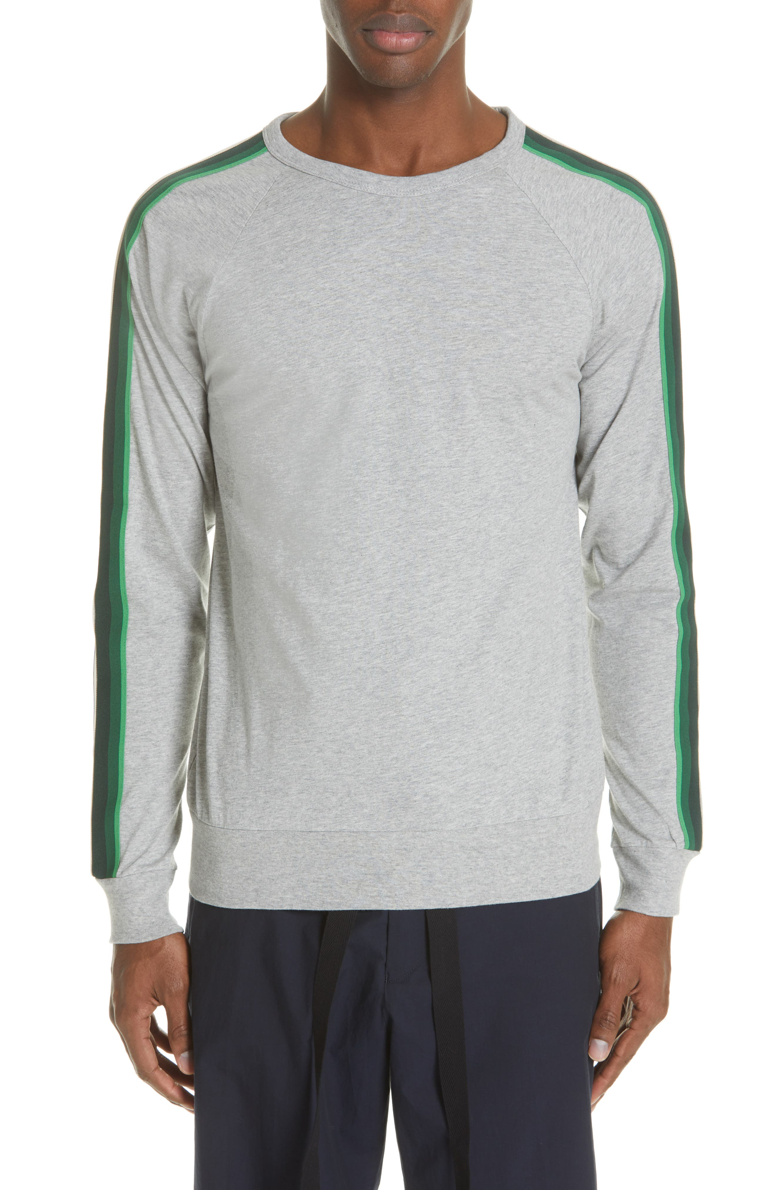 Hoyt Stripe Sleeve Sweatshirt, Main, color, GREY MELANGE