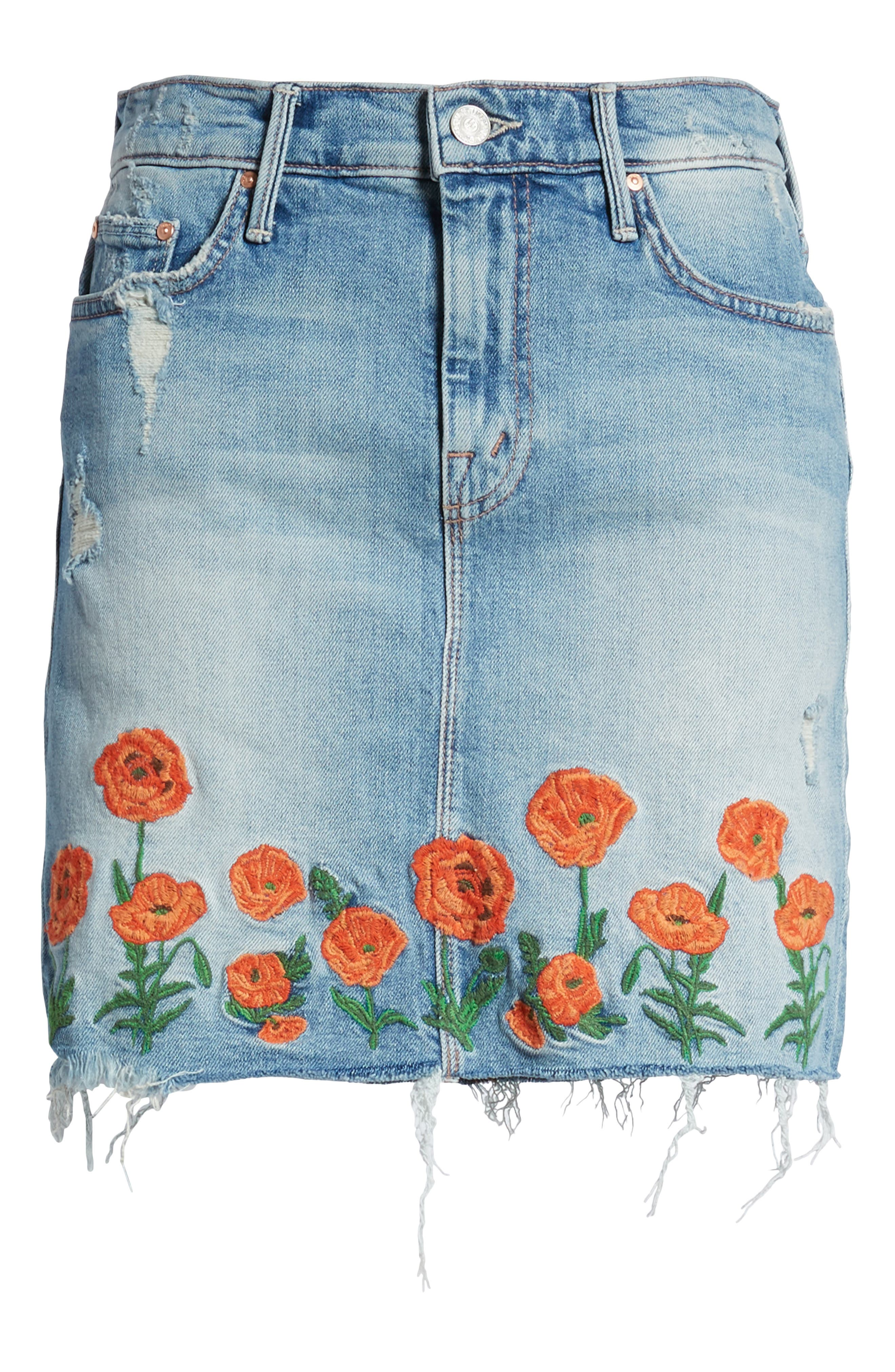 High Waist Fray Straight Denim Miniskirt,                             Alternate thumbnail 7, color,