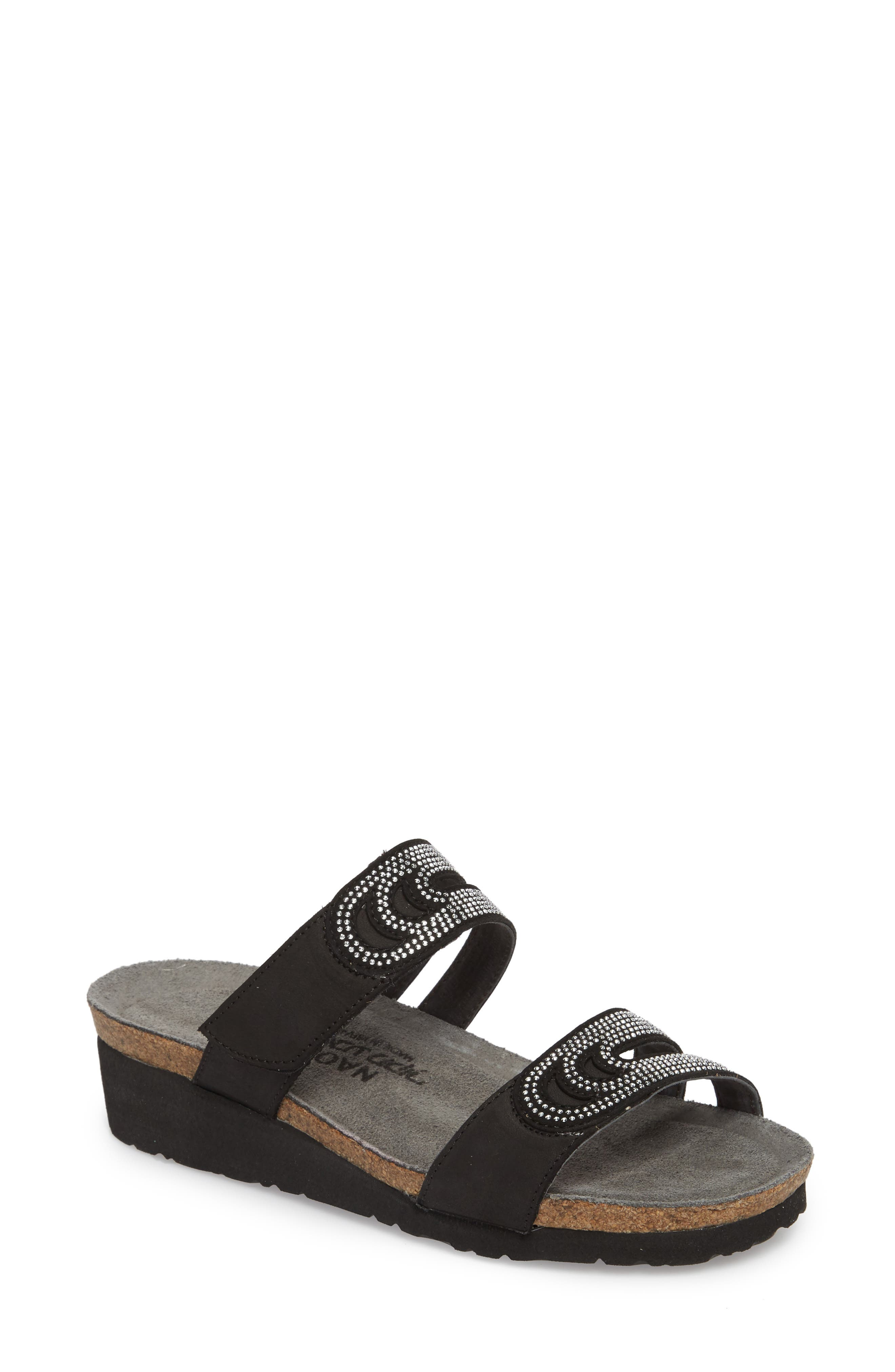 Ainsley Studded Slide Sandal,                             Main thumbnail 1, color,                             BLACK NUBUCK