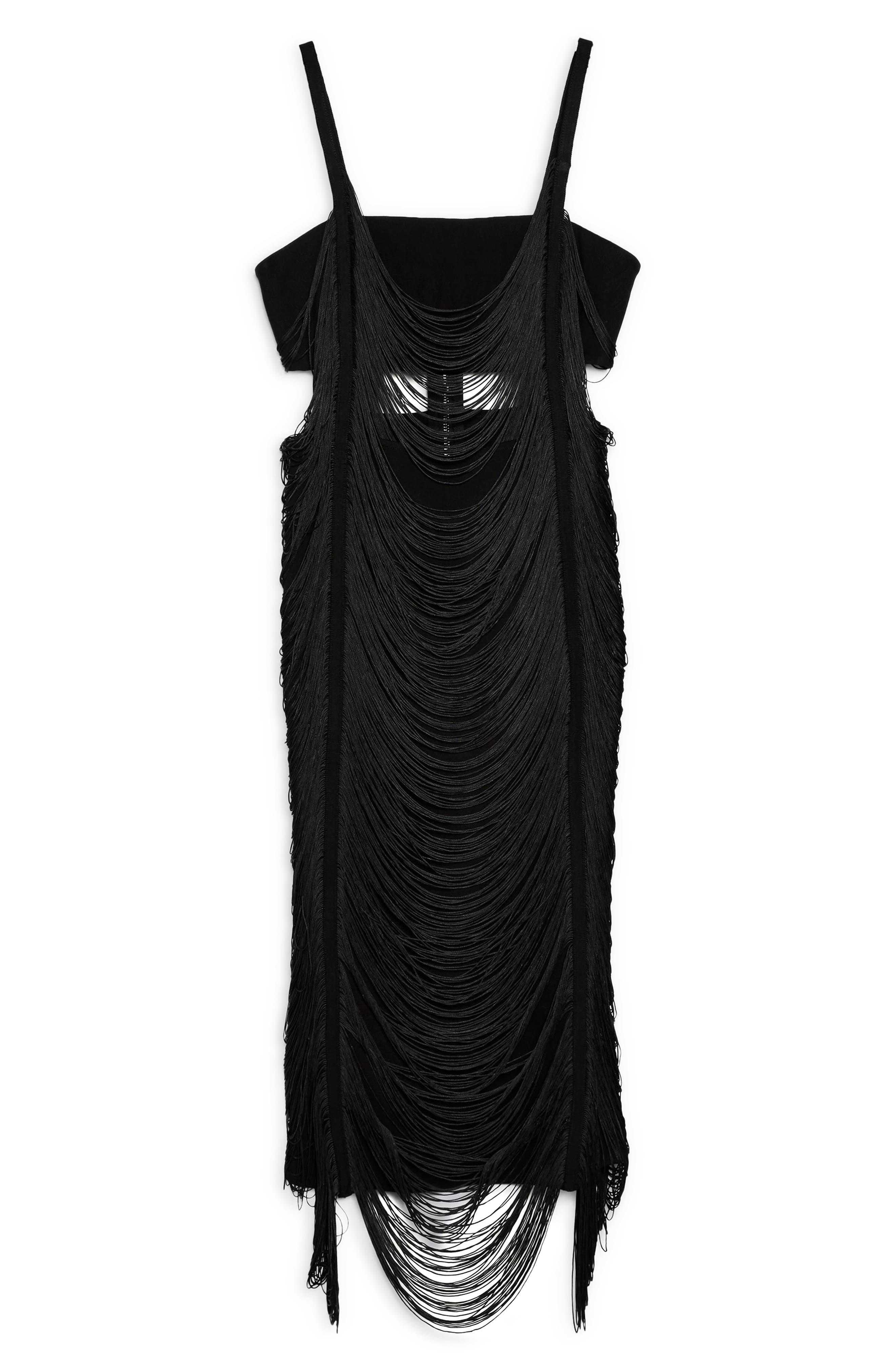 Fringe Body-Con Dress,                             Alternate thumbnail 3, color,                             BLACK