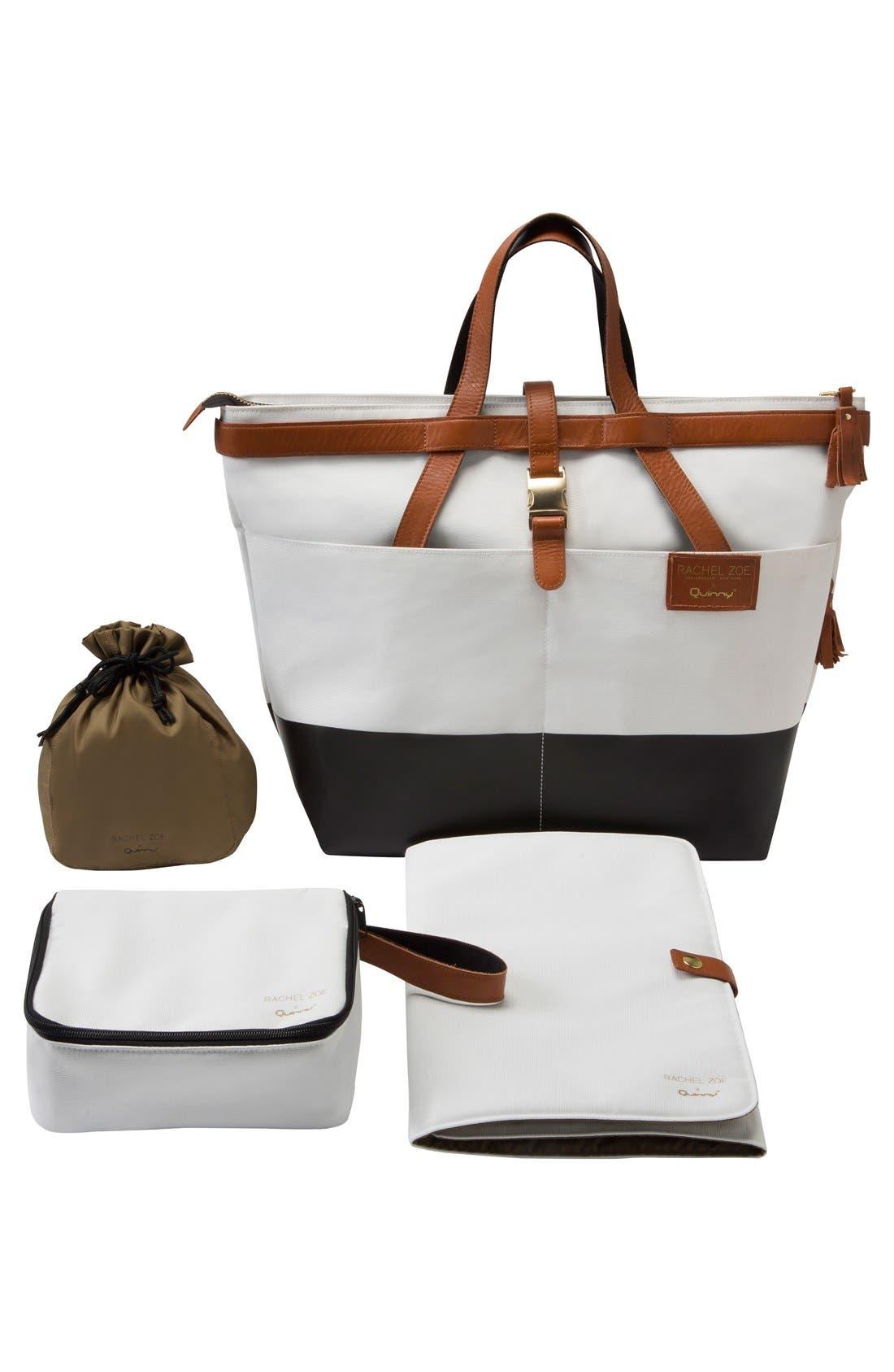 x Rachel Zoe 'Jet Set' Canvas Diaper Bag,                             Alternate thumbnail 7, color,                             100