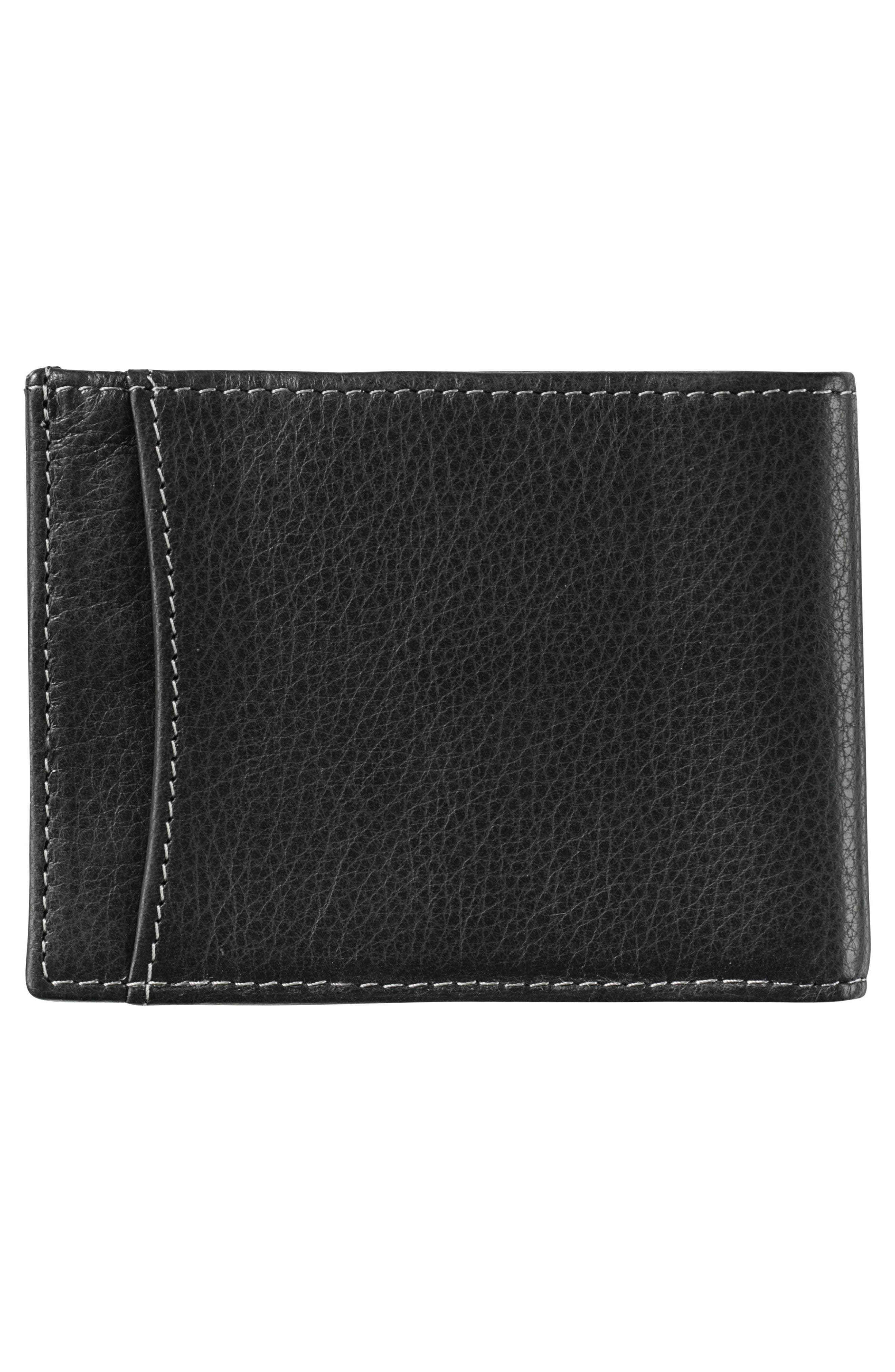 Leather Wallet,                             Alternate thumbnail 3, color,                             BLACK