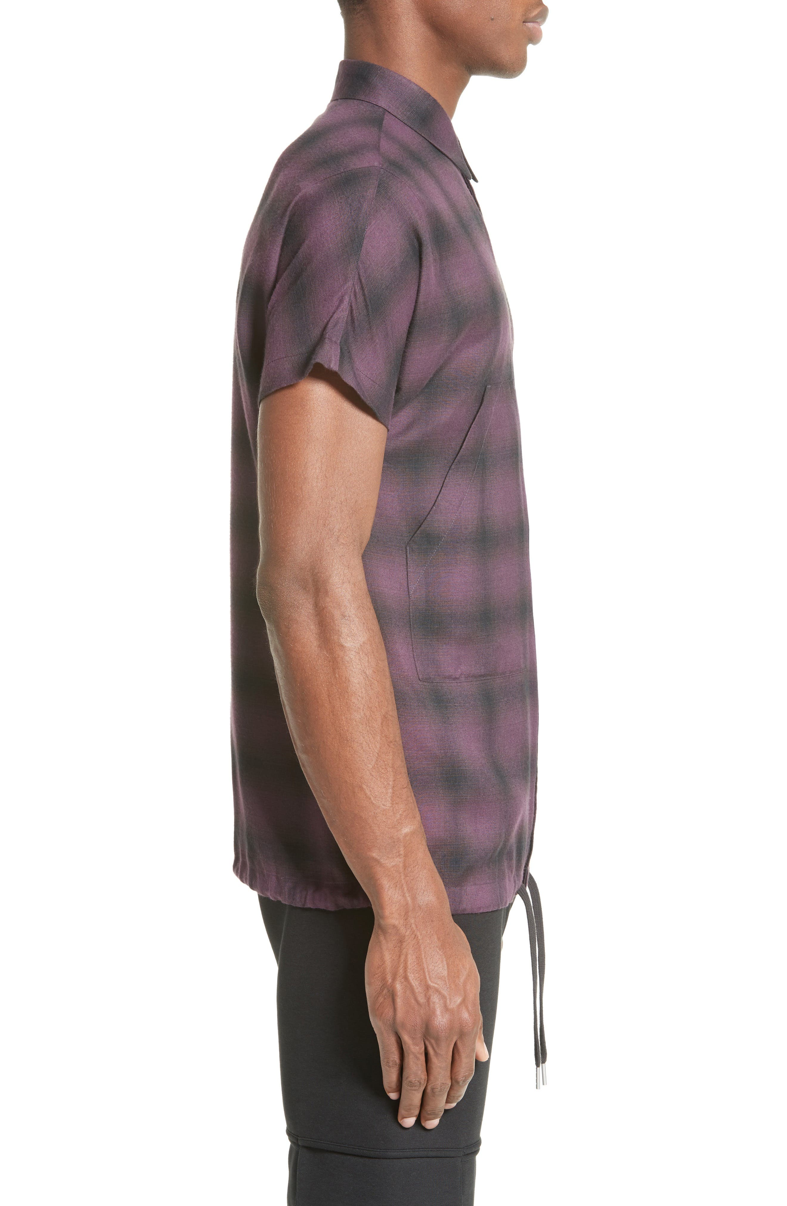 Ombré Check Short Sleeve Sport Shirt,                             Alternate thumbnail 3, color,                             523