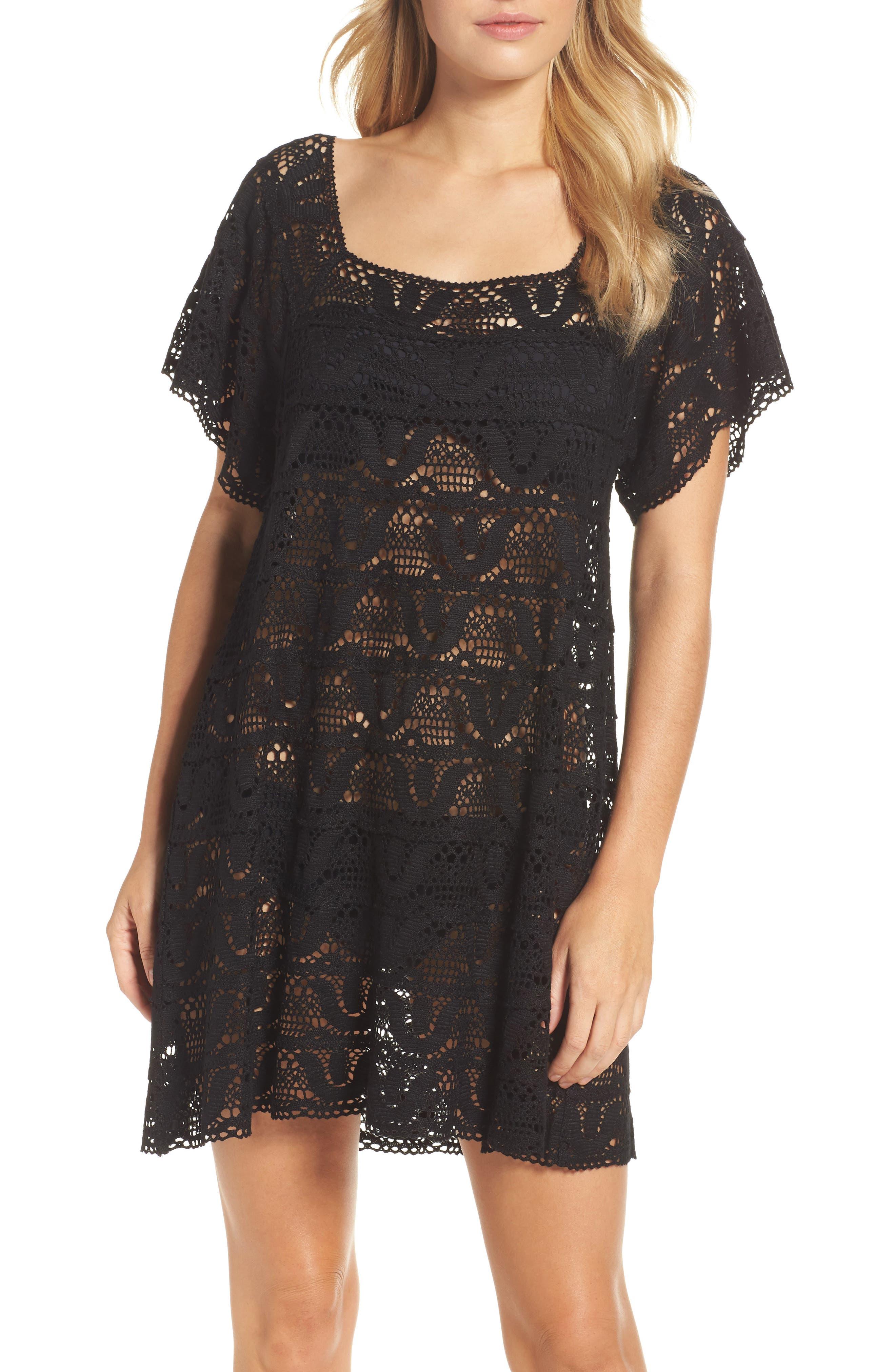Nanette Lapore Crochet Cover-Up Dress,                         Main,                         color, 001