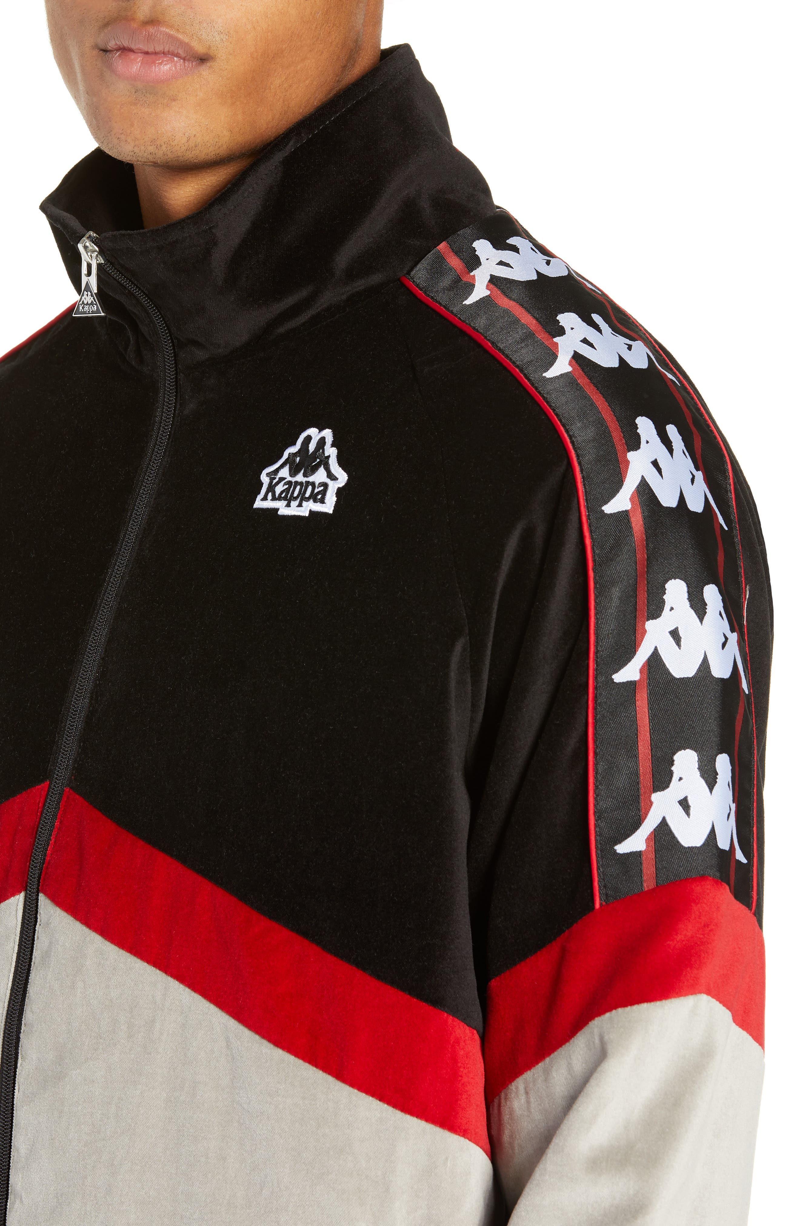 Authentic Cabrini Track Jacket,                             Alternate thumbnail 4, color,                             BLACK/ RED/ GREY