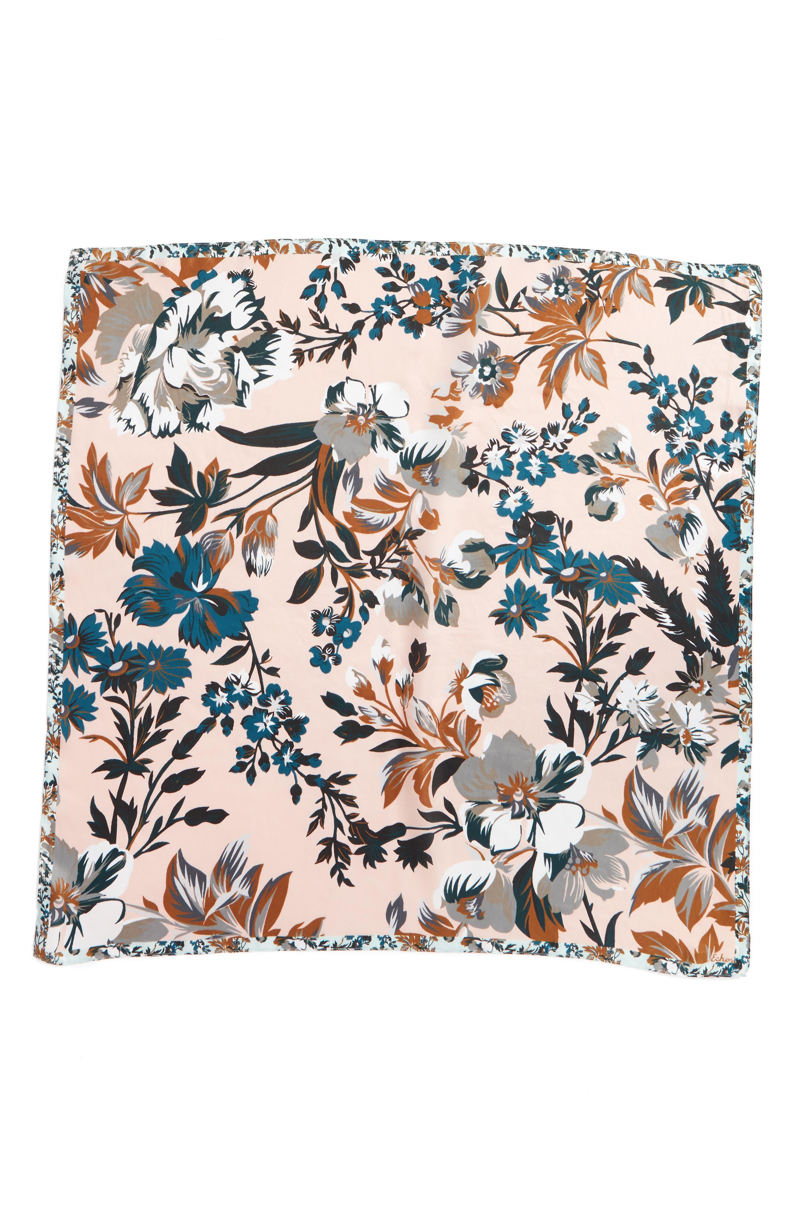 Highgate Floral Square Silk Scarf,                             Alternate thumbnail 3, color,                             110