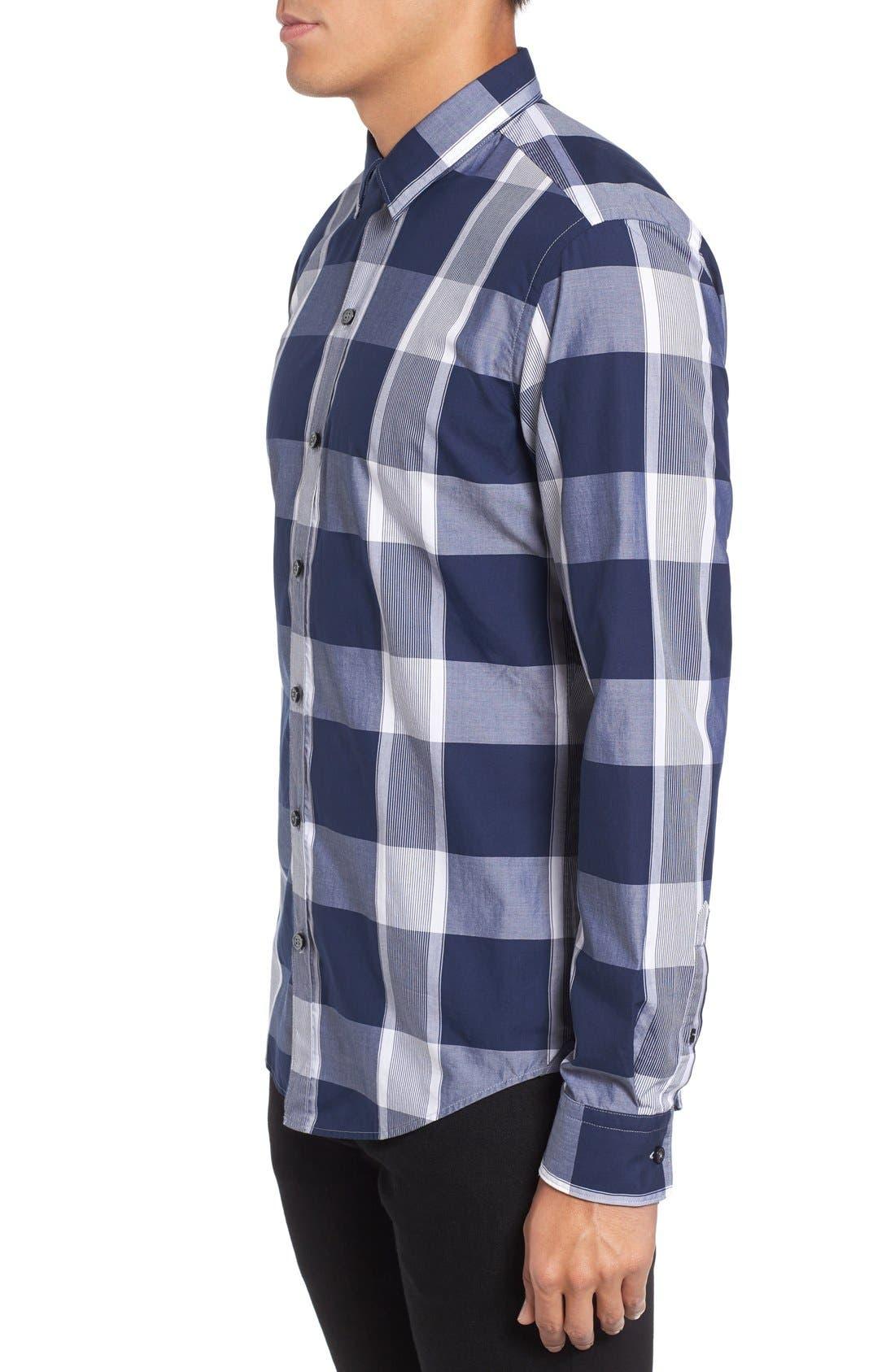 Trim Fit Check Sport Shirt,                             Alternate thumbnail 3, color,                             402