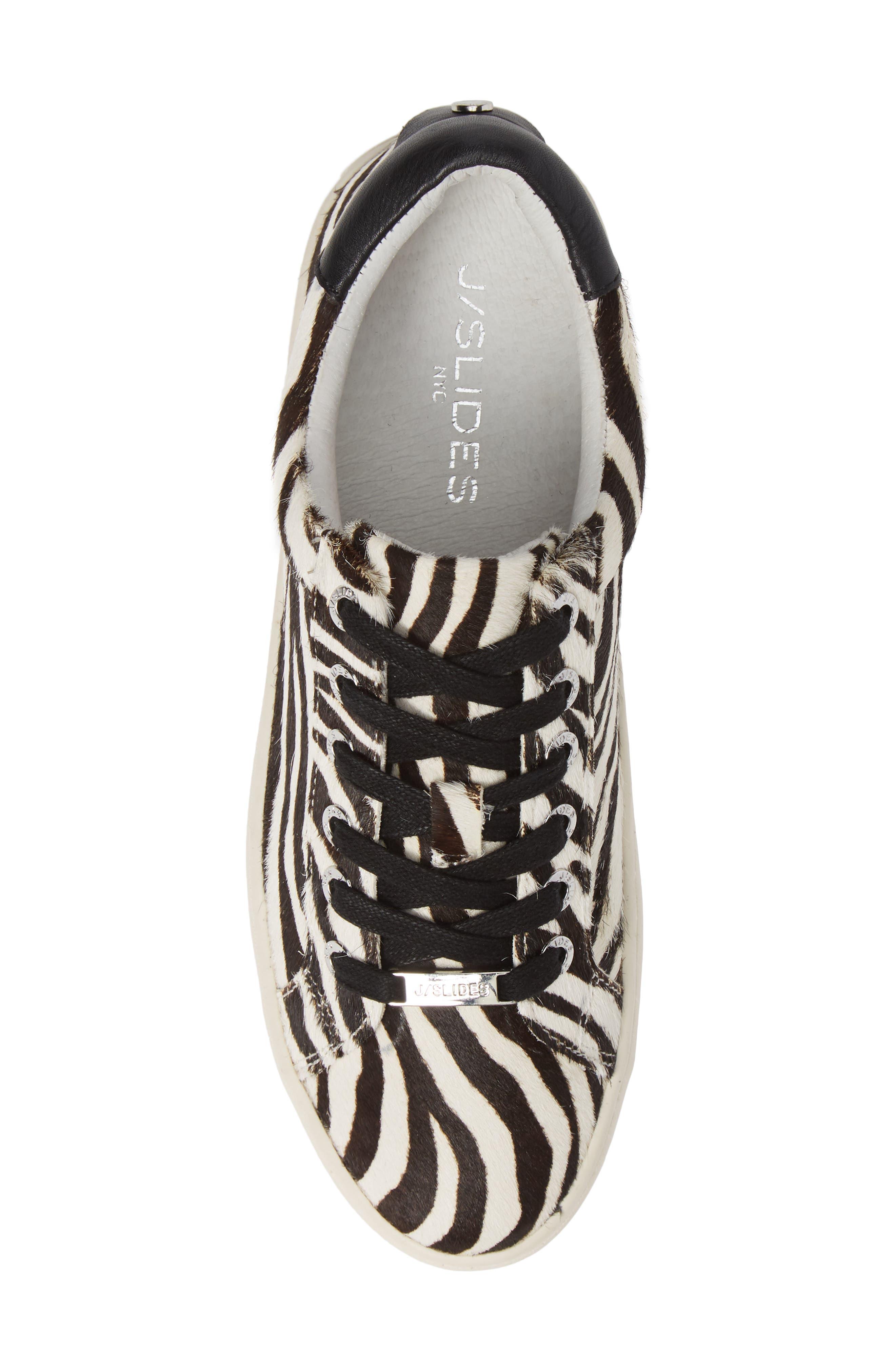JSLIDES,                             Hippie Genuine Calf Hair Platform Sneaker,                             Alternate thumbnail 5, color,                             ZEBRA CALF HAIR