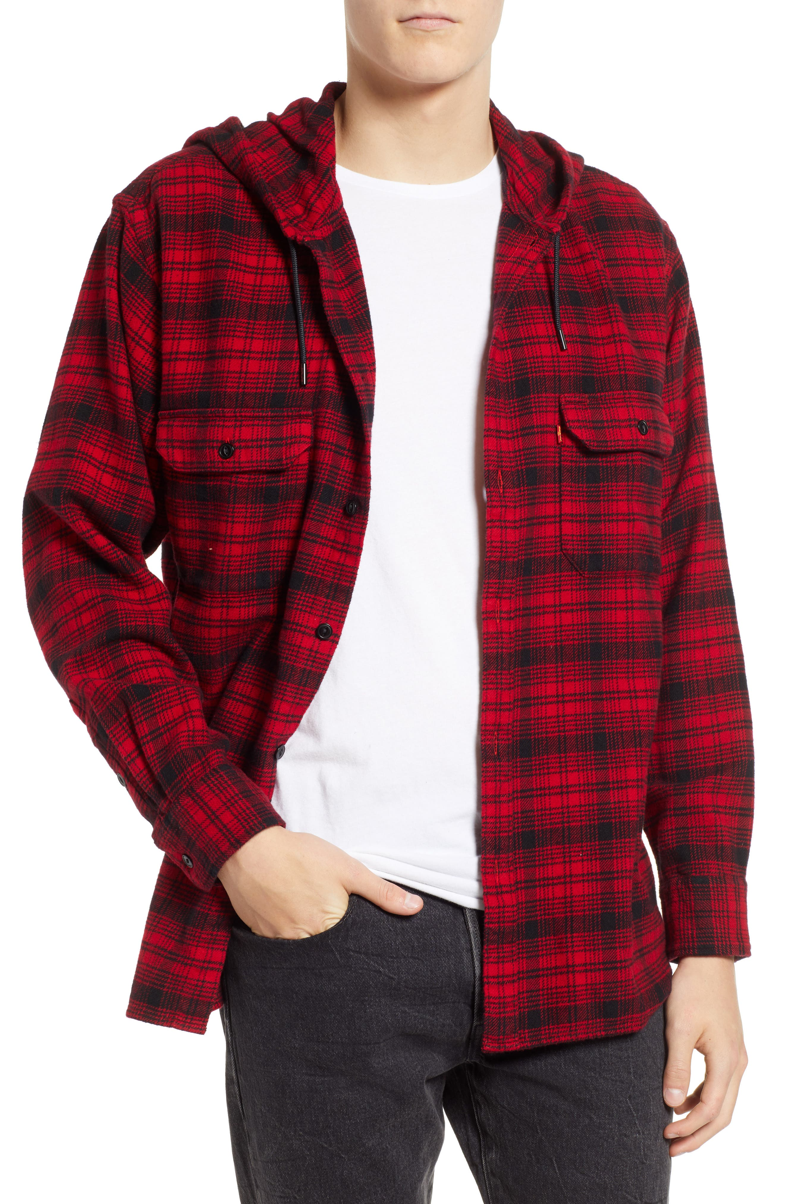 x Justin Timberlake Hooded Flannel Worker Shirt,                             Main thumbnail 1, color,                             SERVAL CRIMSON