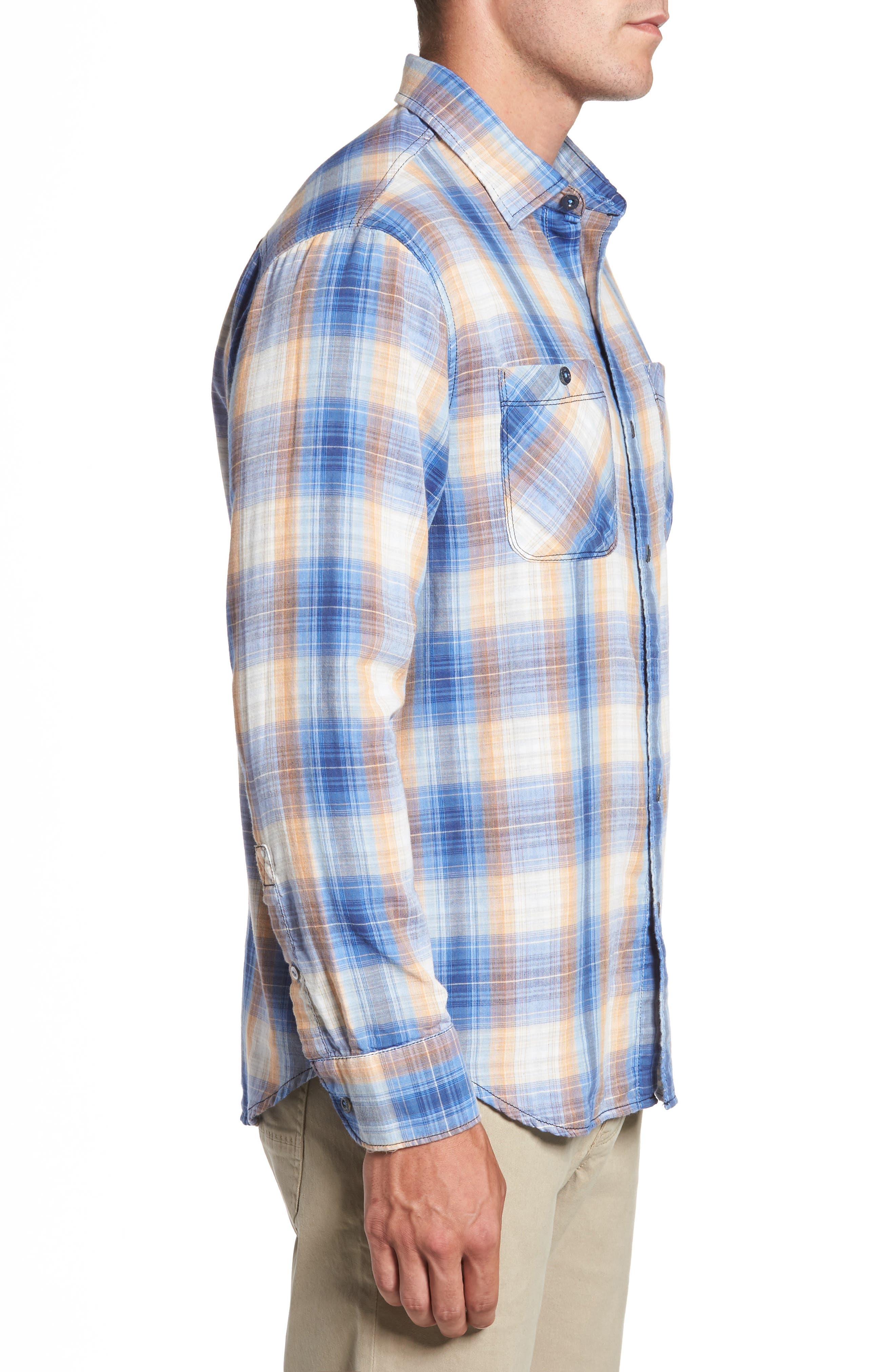 Duble' Ombré Standard Fit Plaid Sport Shirt,                             Alternate thumbnail 3, color,                             400