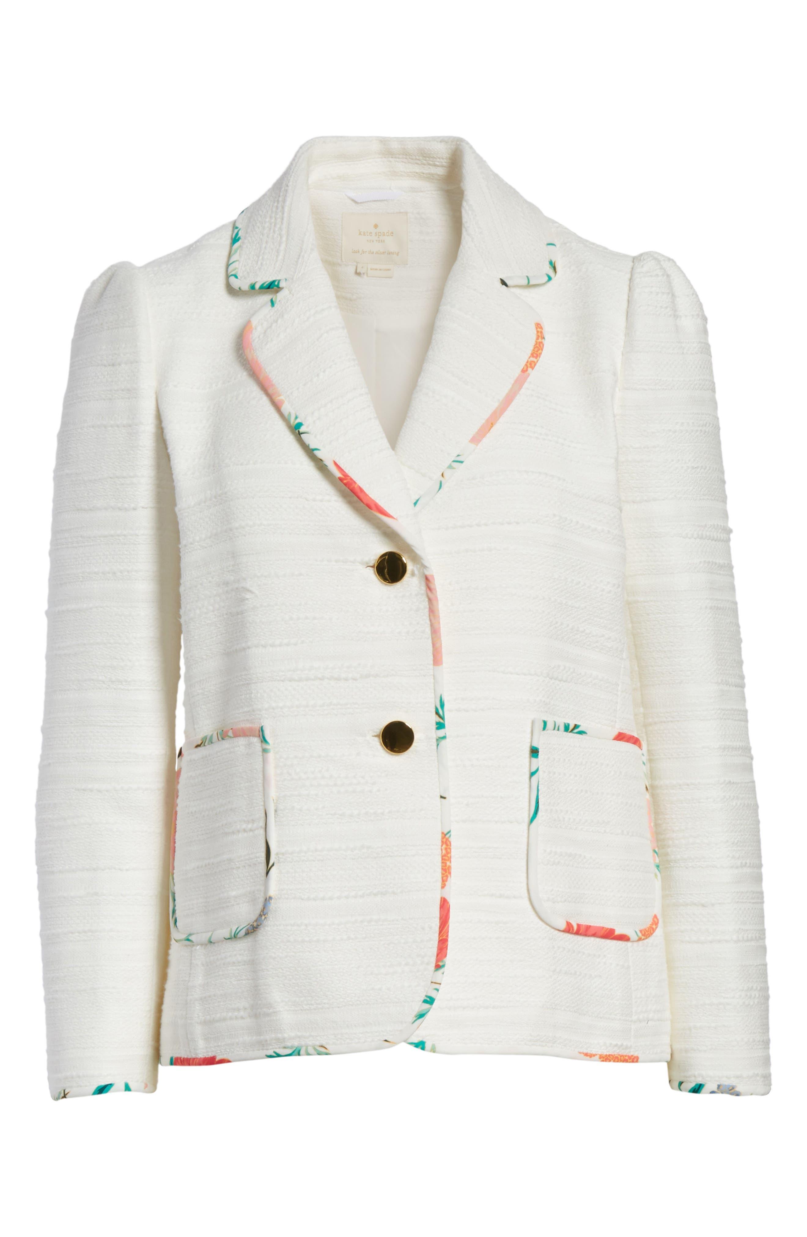 blossom trim tweed jacket,                             Alternate thumbnail 10, color,