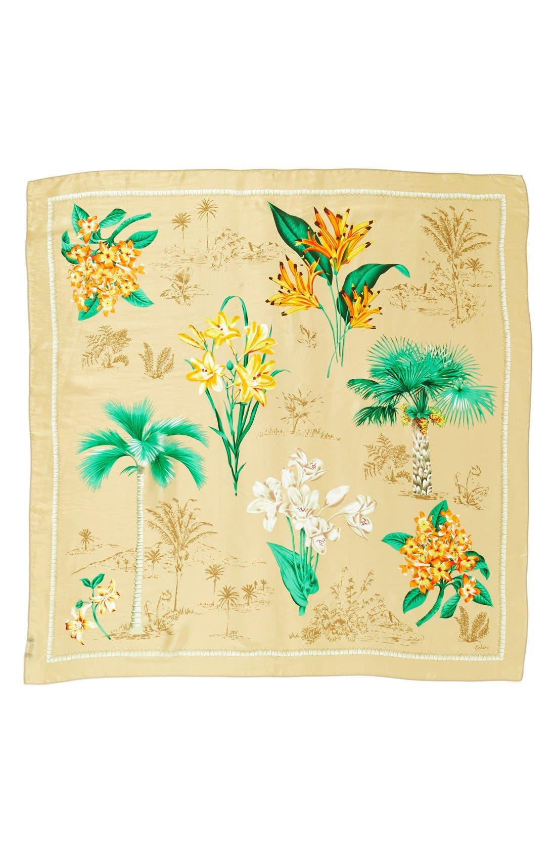'Vintage Lily' Print Silk Square Scarf,                             Alternate thumbnail 3, color,                             254