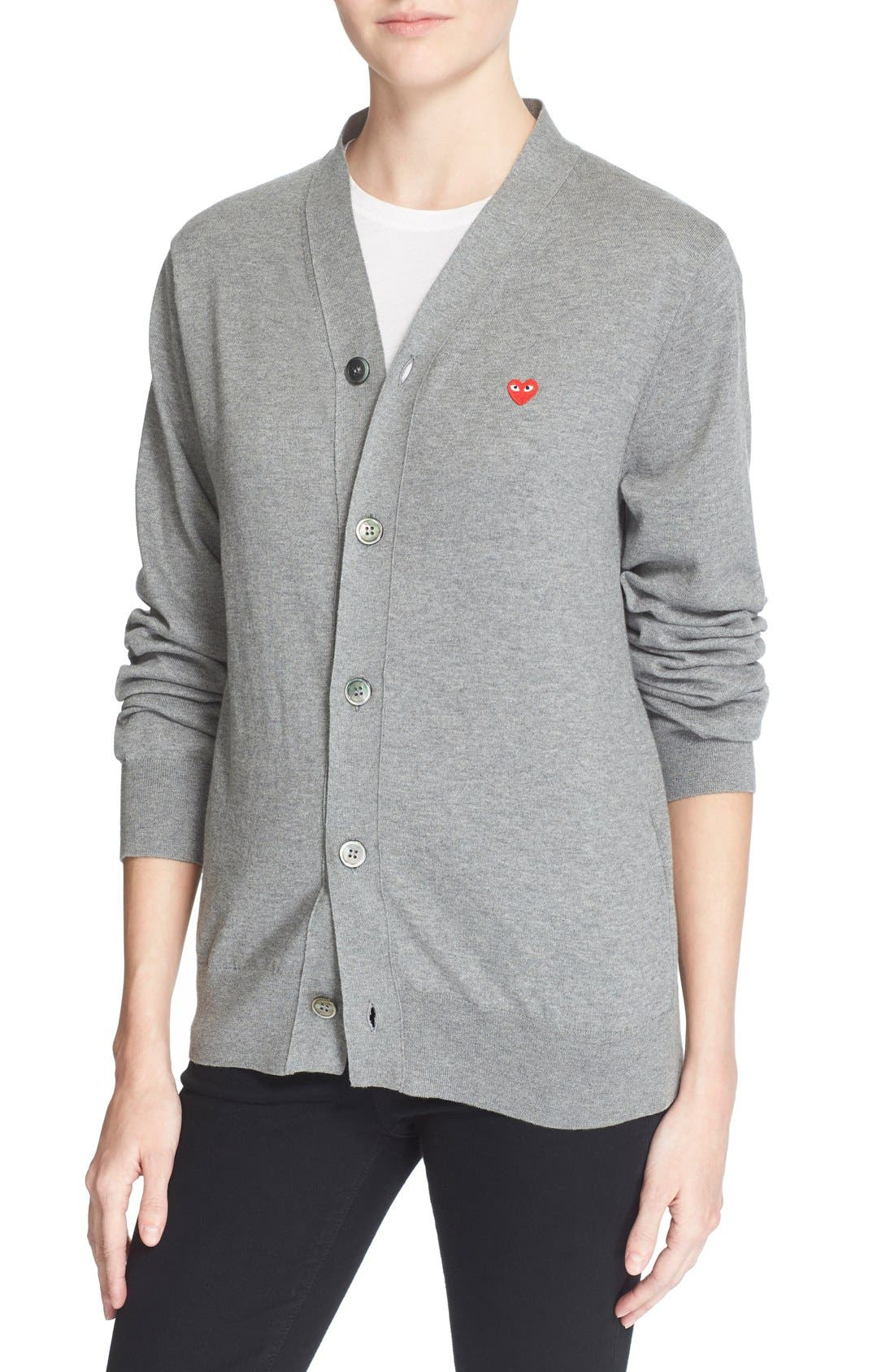 Comme des Garçons PLAY Cotton Cardigan,                             Alternate thumbnail 2, color,
