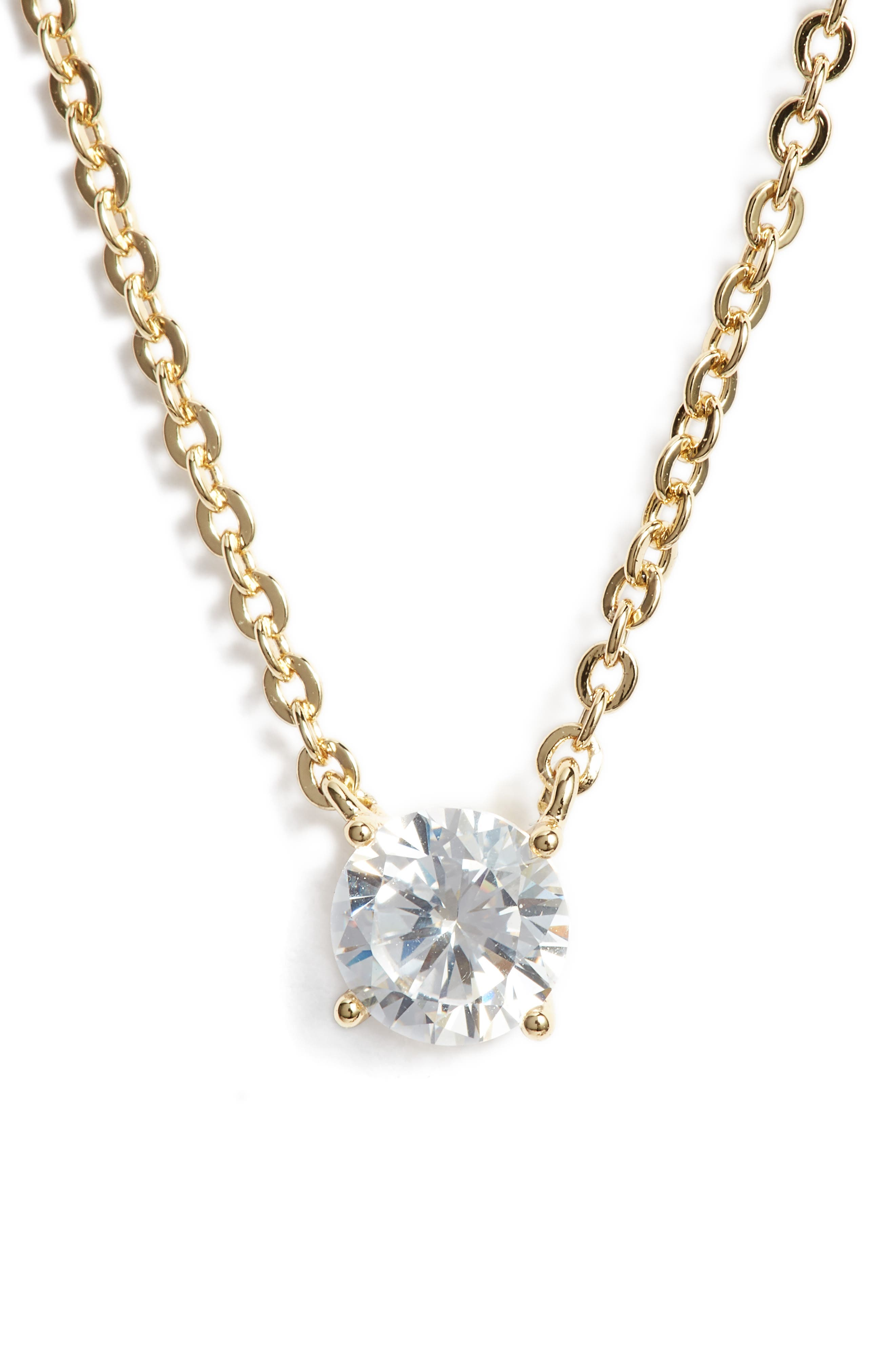 Cubic Zirconia Pendant Necklace,                             Main thumbnail 1, color,                             CLEAR- GOLD