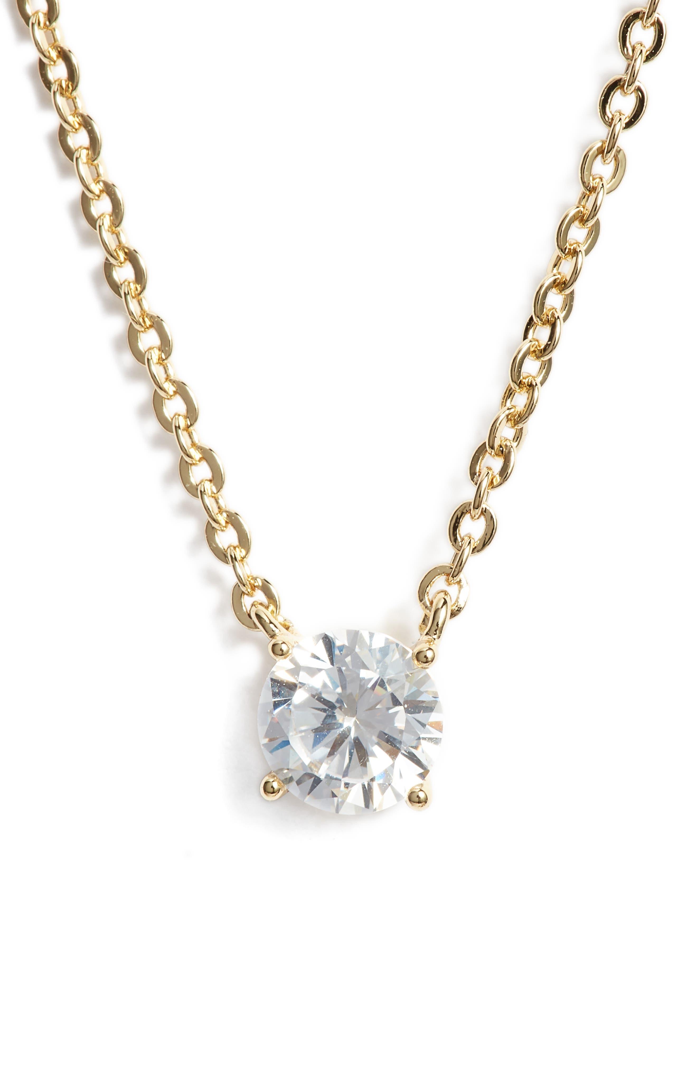Cubic Zirconia Pendant Necklace,                         Main,                         color, CLEAR- GOLD