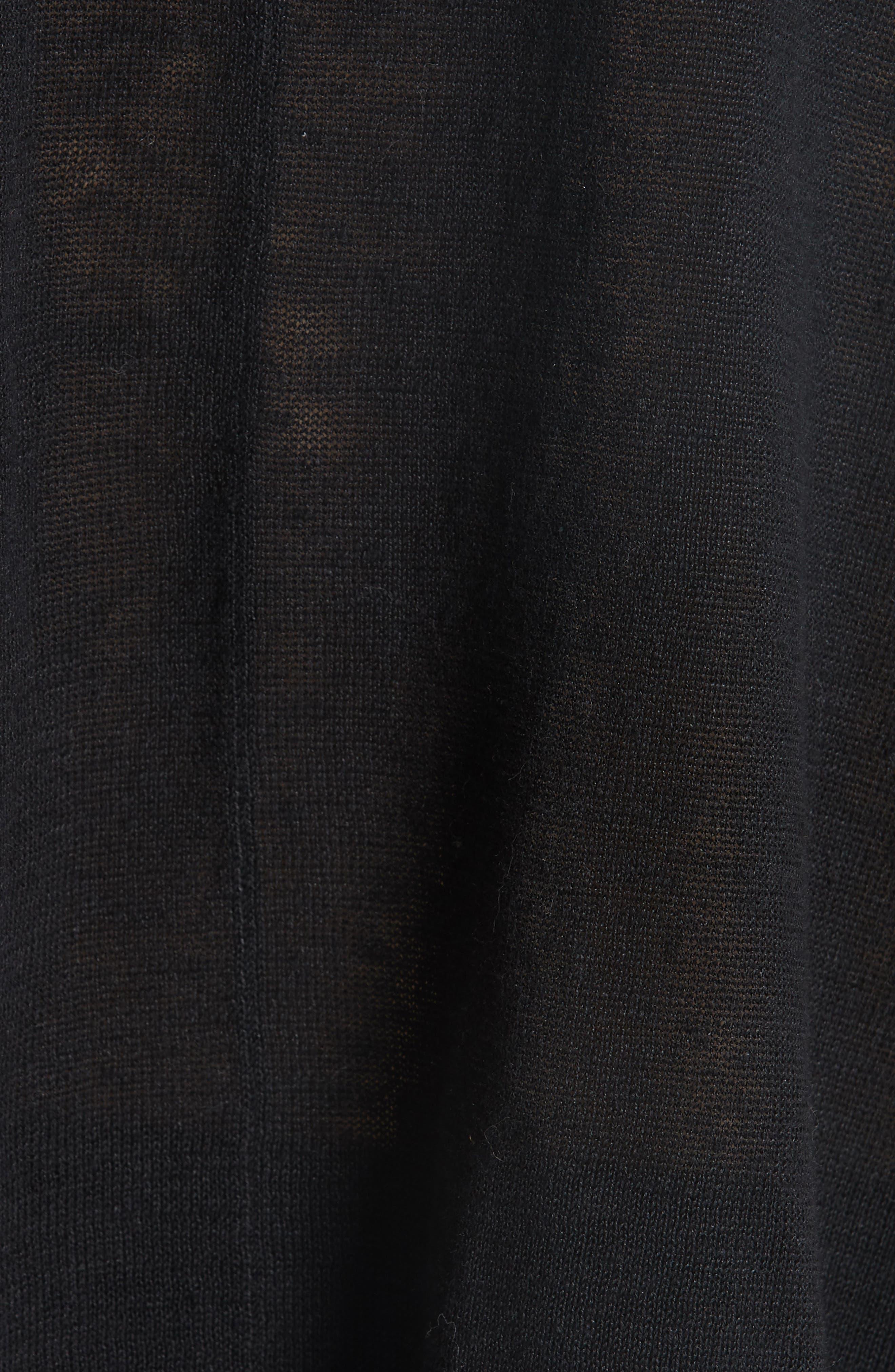 Boxy Organic Linen Sweater,                             Alternate thumbnail 5, color,                             BLACK
