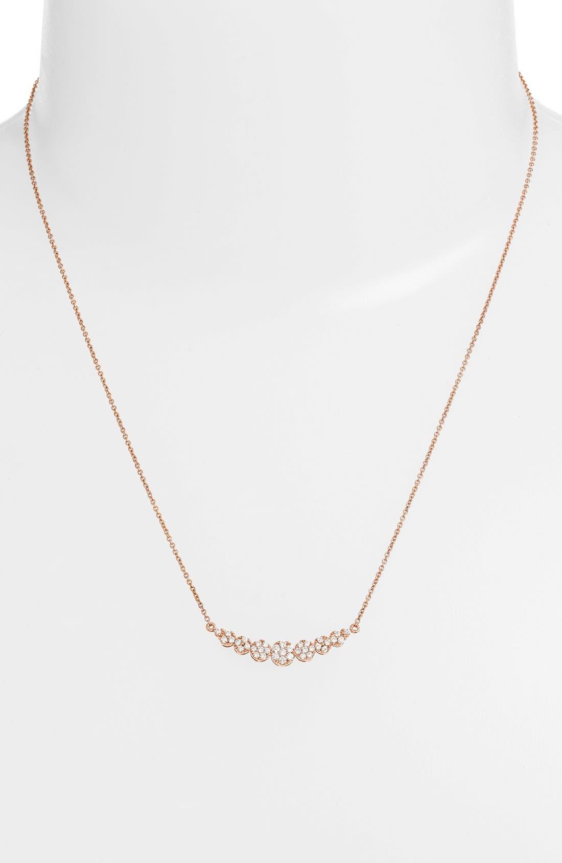 'Liora' Diamond Pendant Necklace,                             Alternate thumbnail 4, color,                             ROSE GOLD